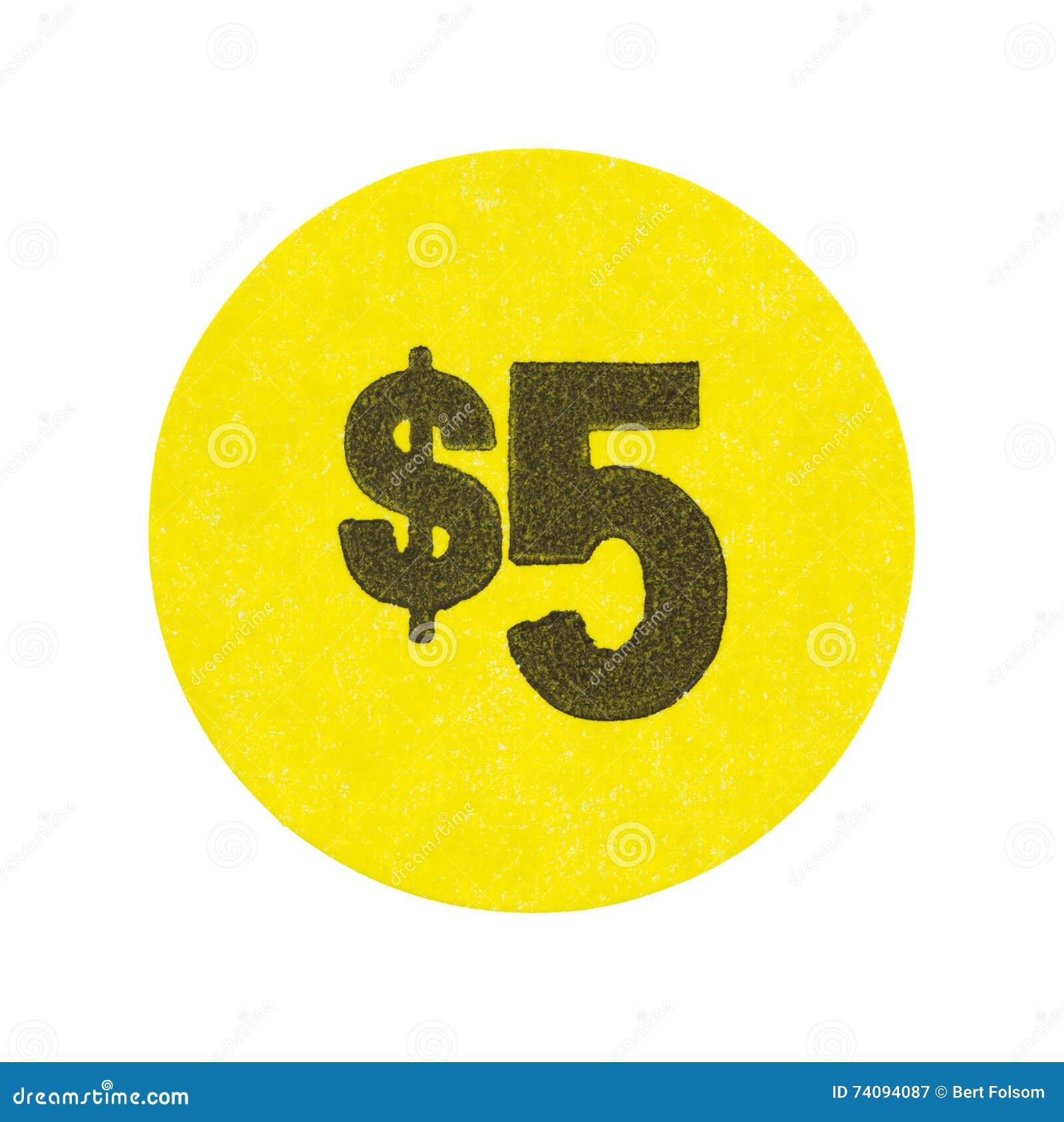 Jaune autocollant de brocante à domicile des cinq dollars