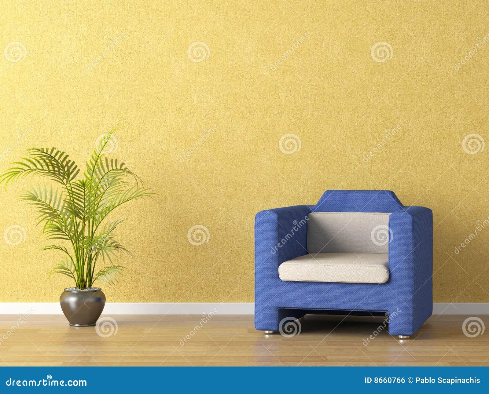 Jaune de mur de divan de bllue
