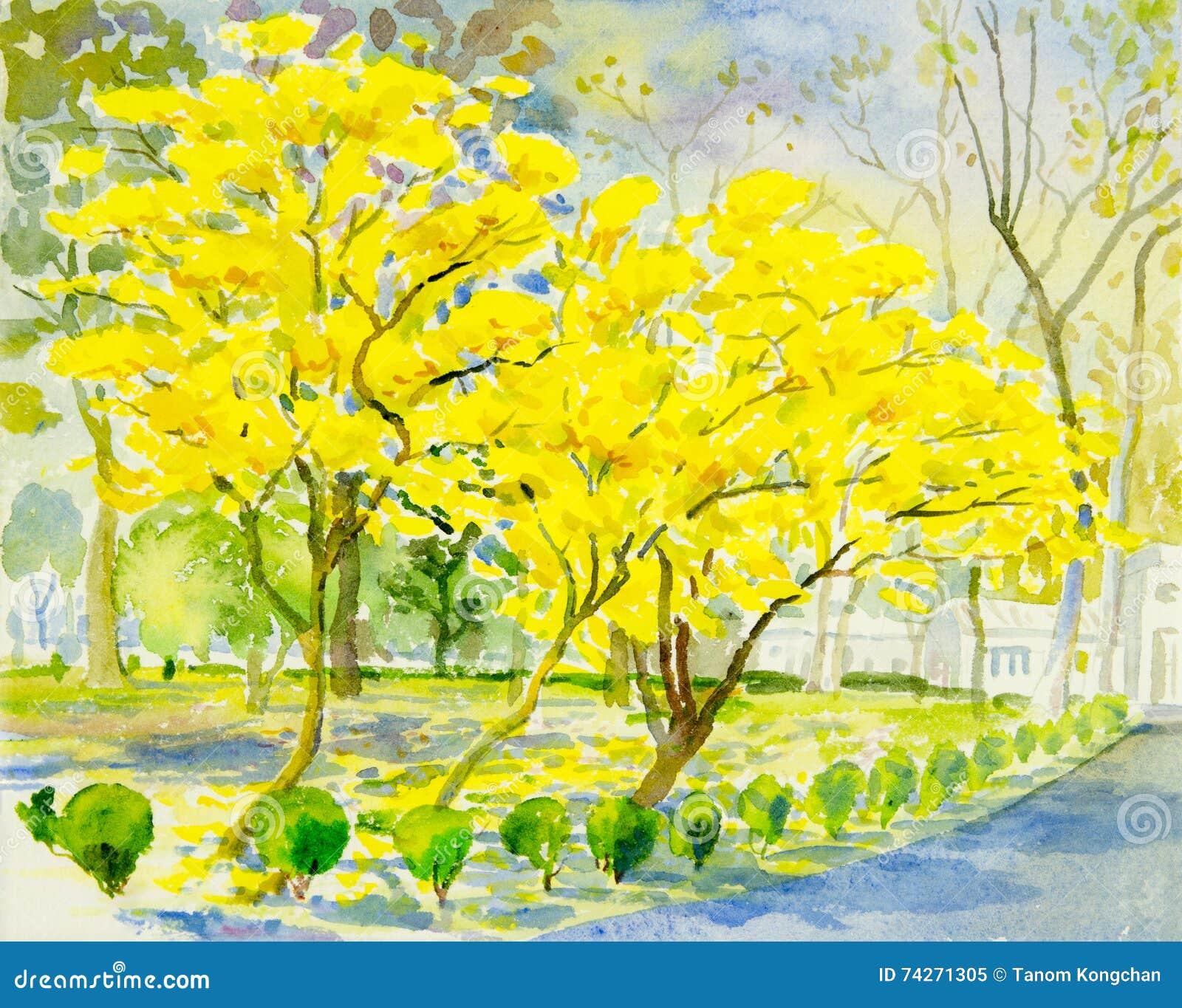 jaune original de peinture de paysage couleur orange de fleur d 39 or d 39 arbre illustration stock. Black Bedroom Furniture Sets. Home Design Ideas