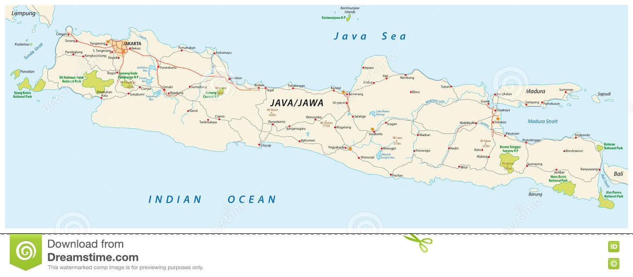 Java road and national park map indonesia stock illustration java road and national park map indonesia gumiabroncs Choice Image