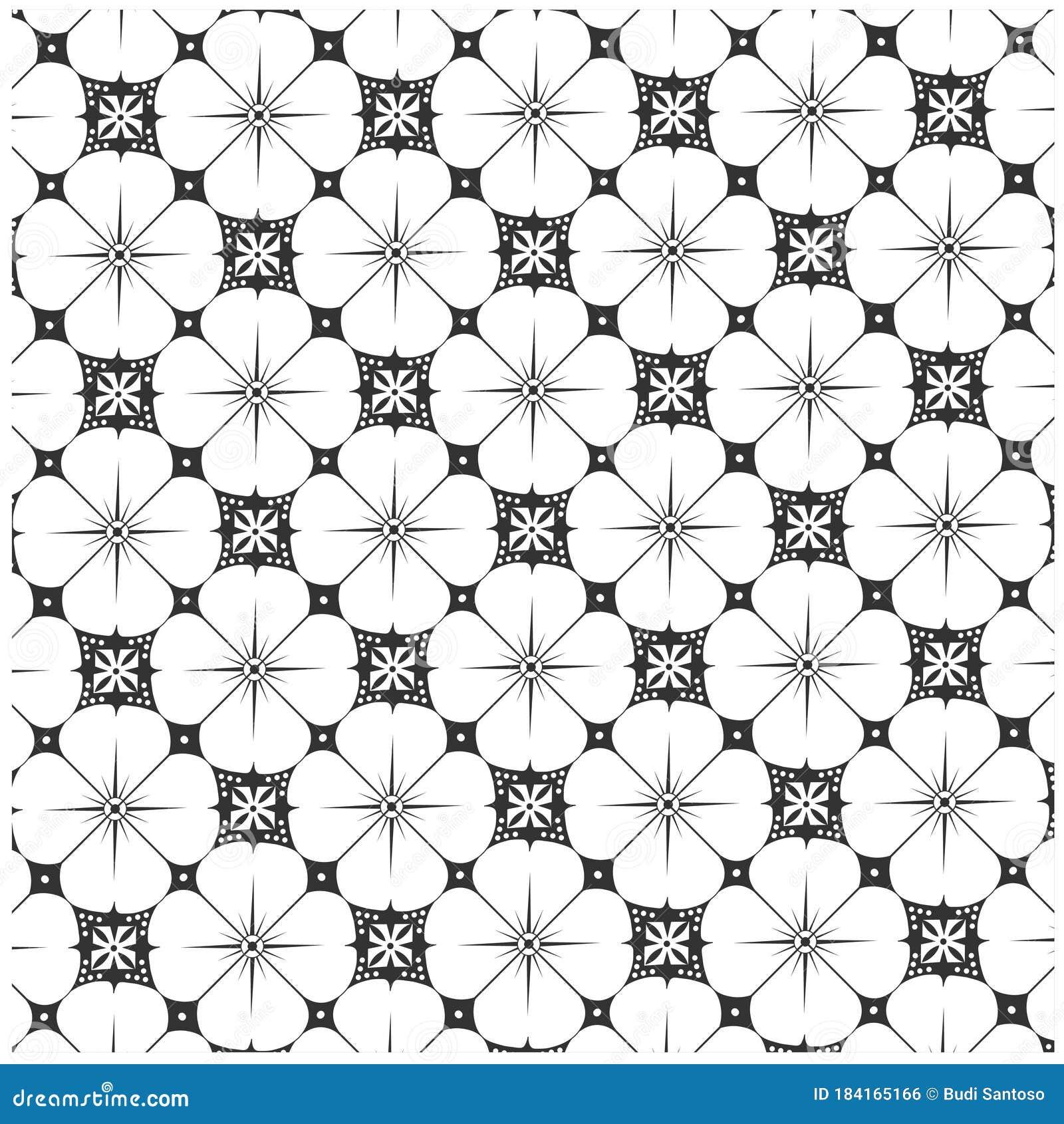 Javanese Batik Kawung Seamless Pattern With Black And