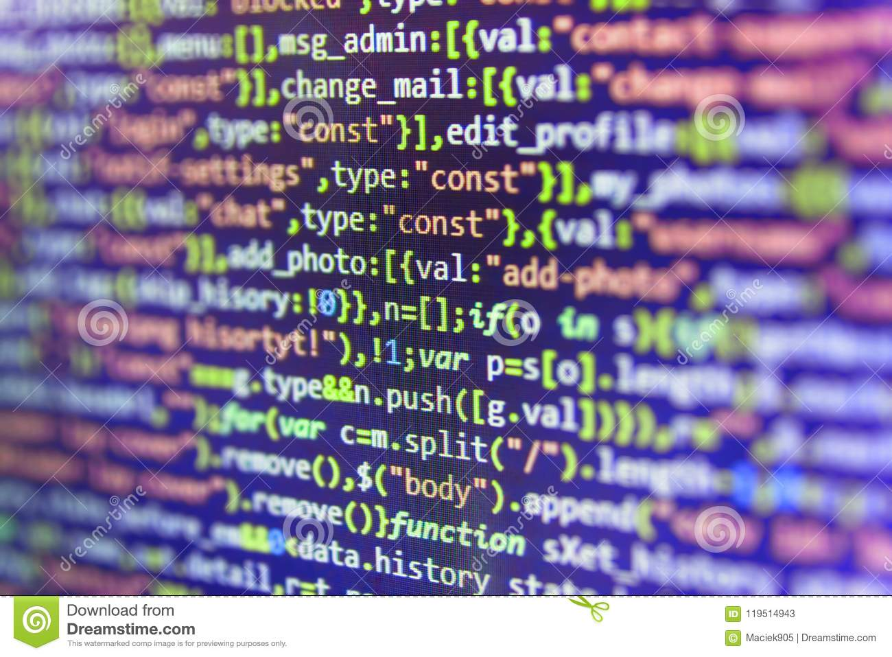 Javascript Code In Bracket Software. Stock Image - Image of ...