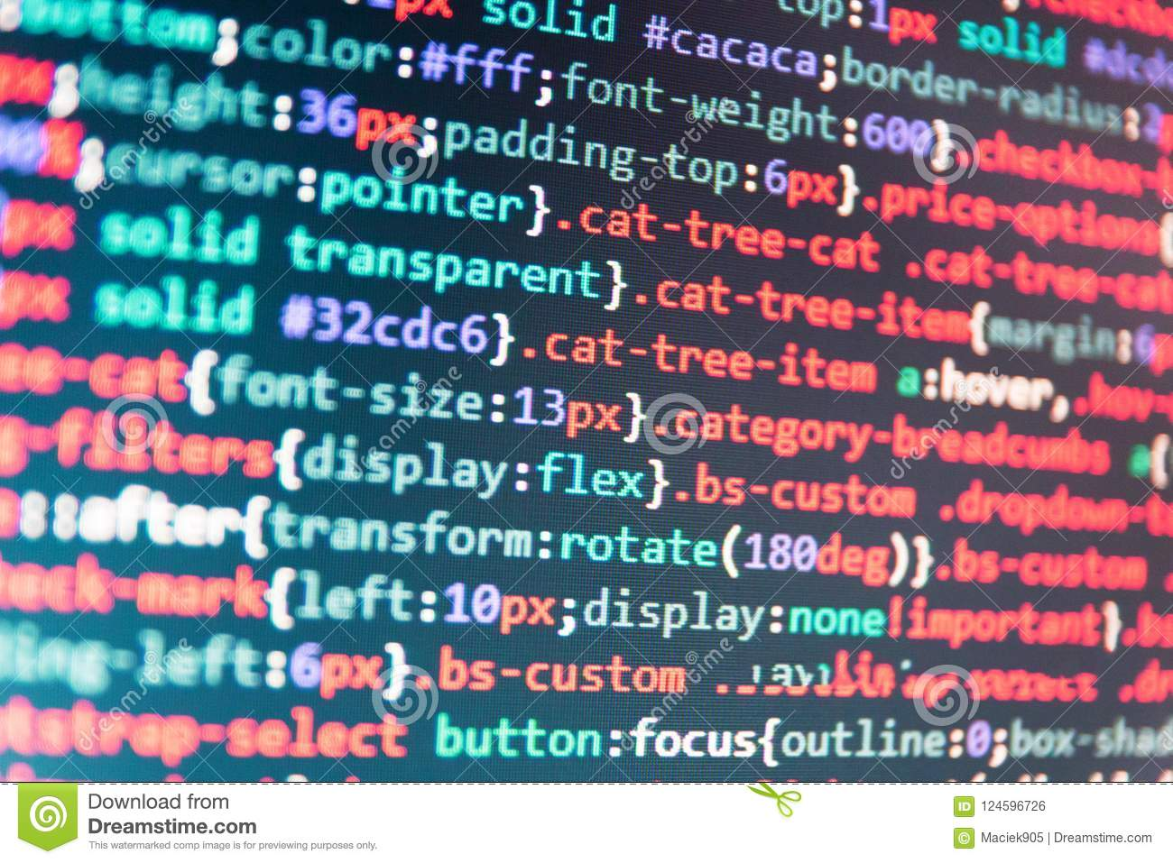 JavaScript Code In Text Editor Stock Photo - Image of