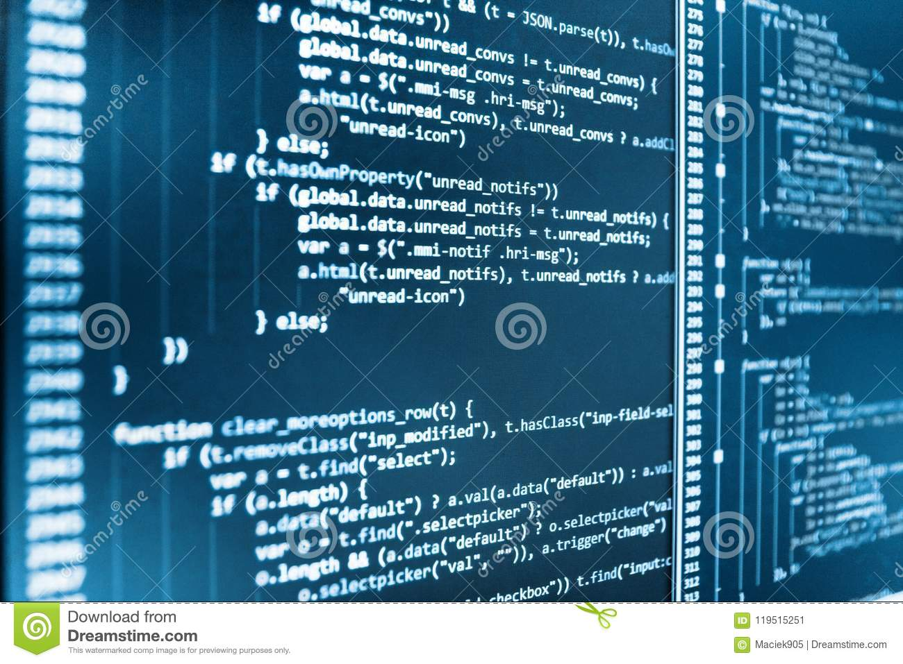 JavaScript Code In Text Editor  Stock Image - Image of hard
