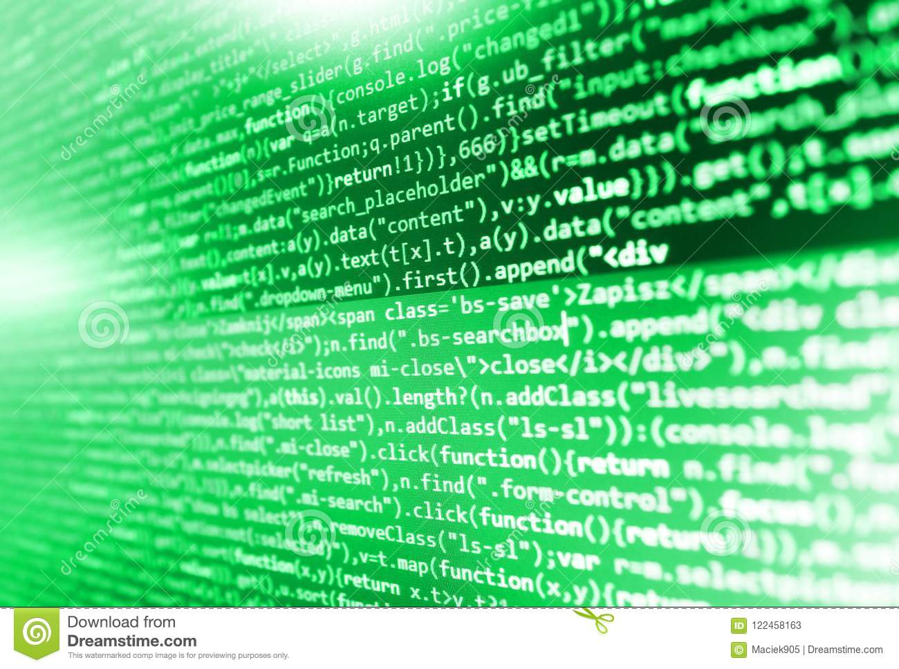 Javascript Functions, Variables, Objects  Stock Image - Image of