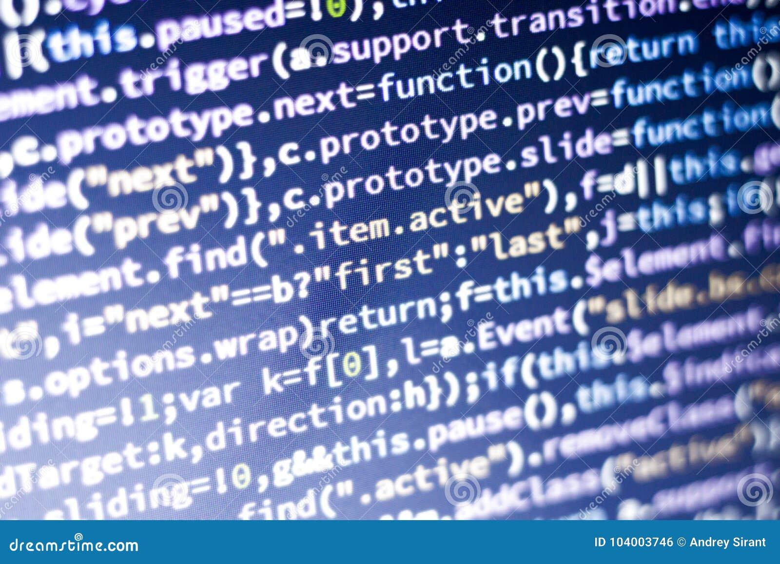 Javascriptkod Dator som programmerar källkod Abstrakt skärm av rengöringsdukbärare med glödande kod