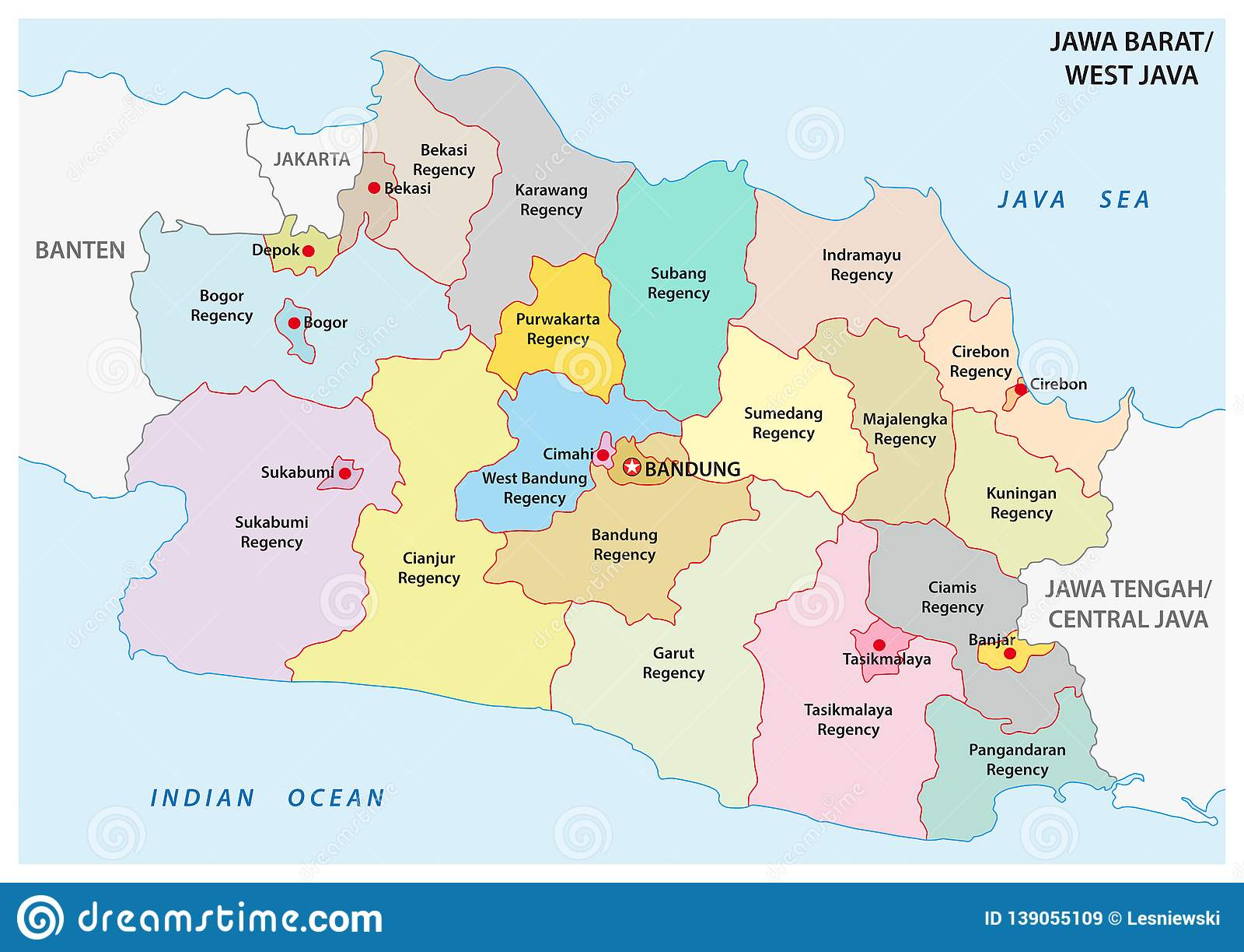 Jawa Barat West Java Administrative And Political Vector
