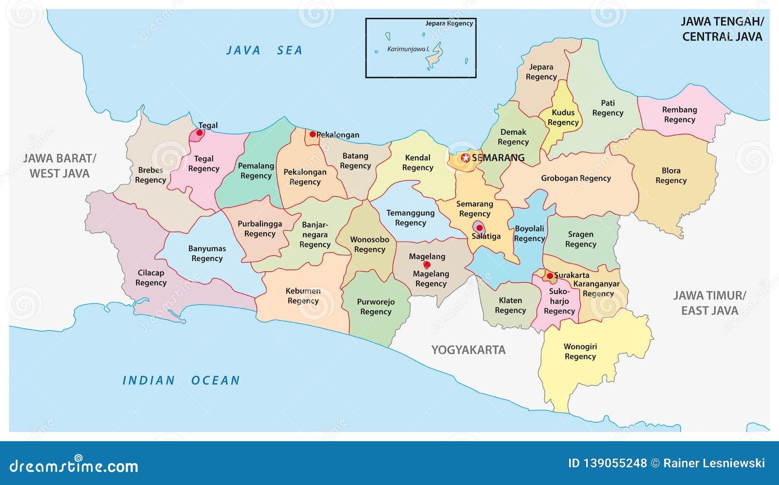 Jawa Tengah Central Java Administrative And Political