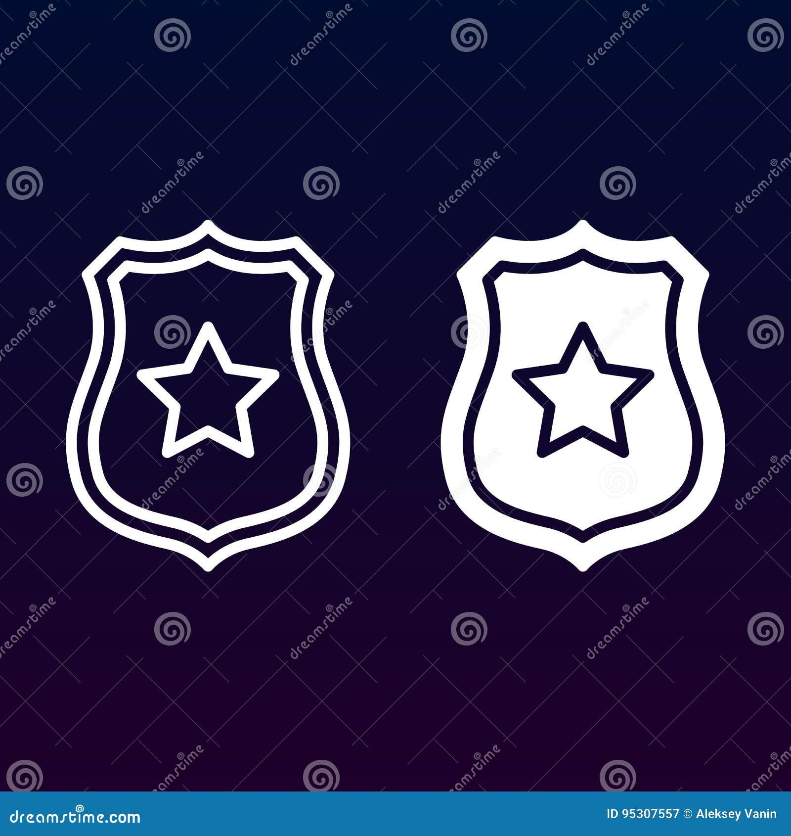 Jawny bezpieczeństwo, szeryf odznaka z gwiazdy ikoną, kontur i piktogram odizolowywający dalej, kreskową i stałą, wypełniający we