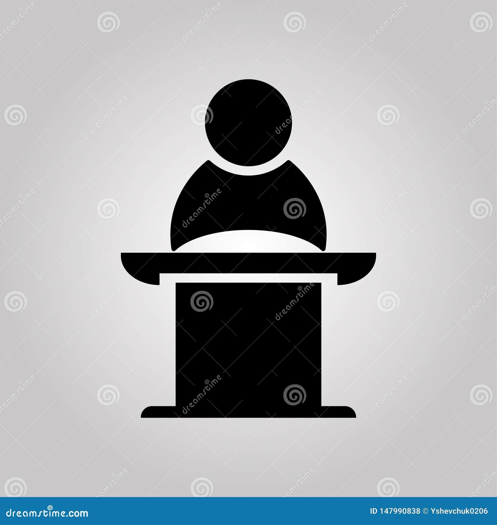 Jawny m?wca na piedestale Biznesowy spotkanie, dyskusja lub debata, r?wnie? zwr?ci? corel ilustracji wektora