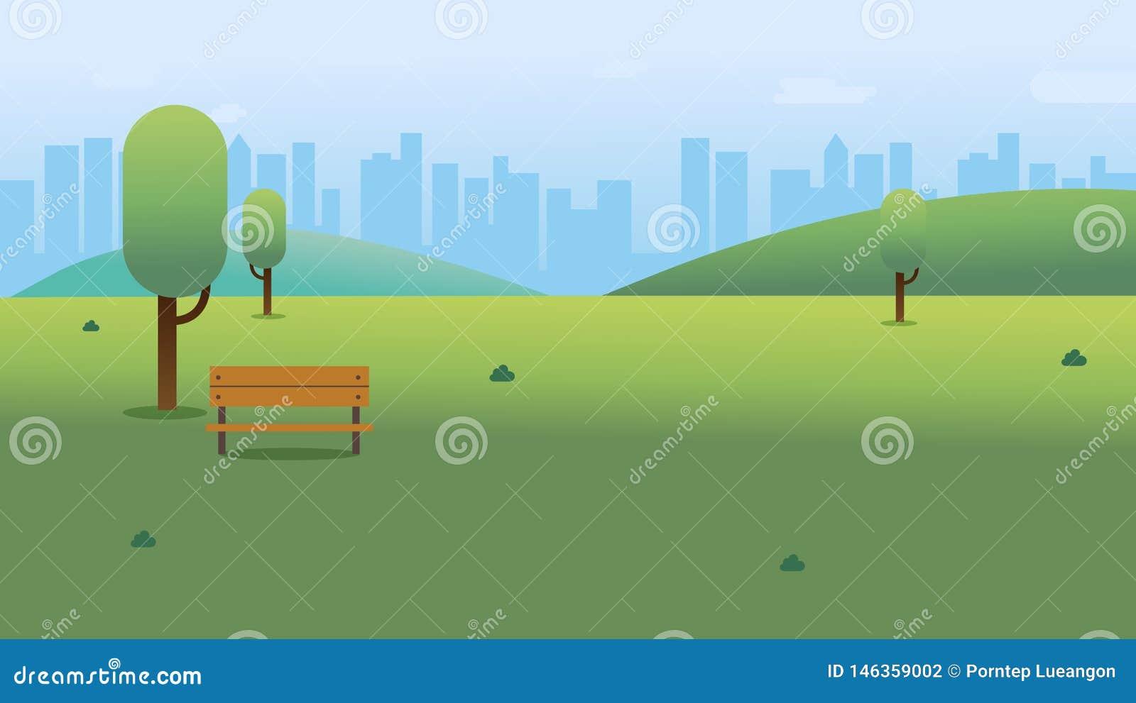 Jawny park z ławką w mieście z nieba i pejzażu miejskiego tłem Pi?kna natury scena z miasteczkiem i wzg?rzem