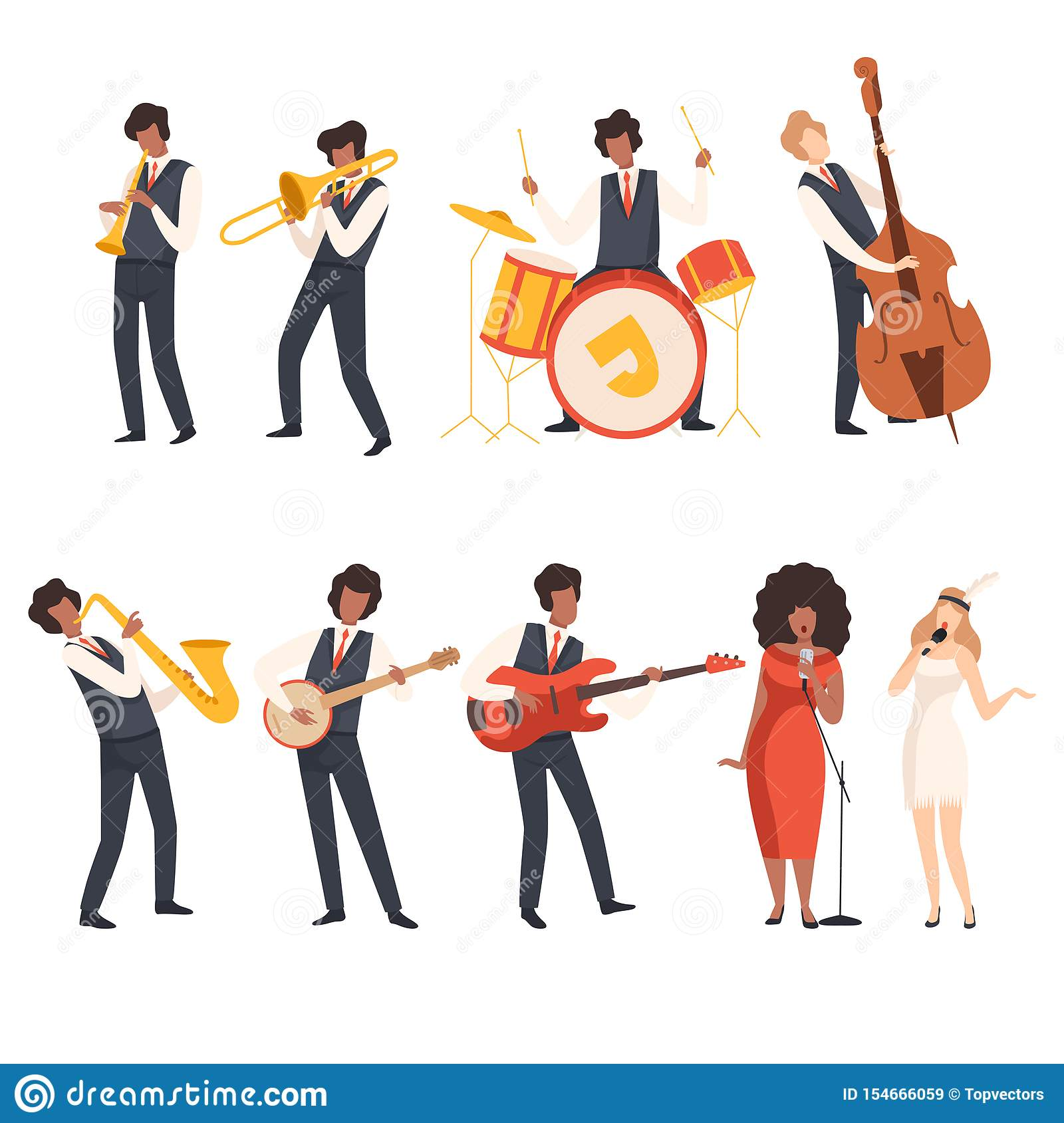Jazz Band Group, Musicians Singing and Playing Trumpet, Banjo, Saxophone, Trombone, Drums, Guitar, Double Bass, Vector