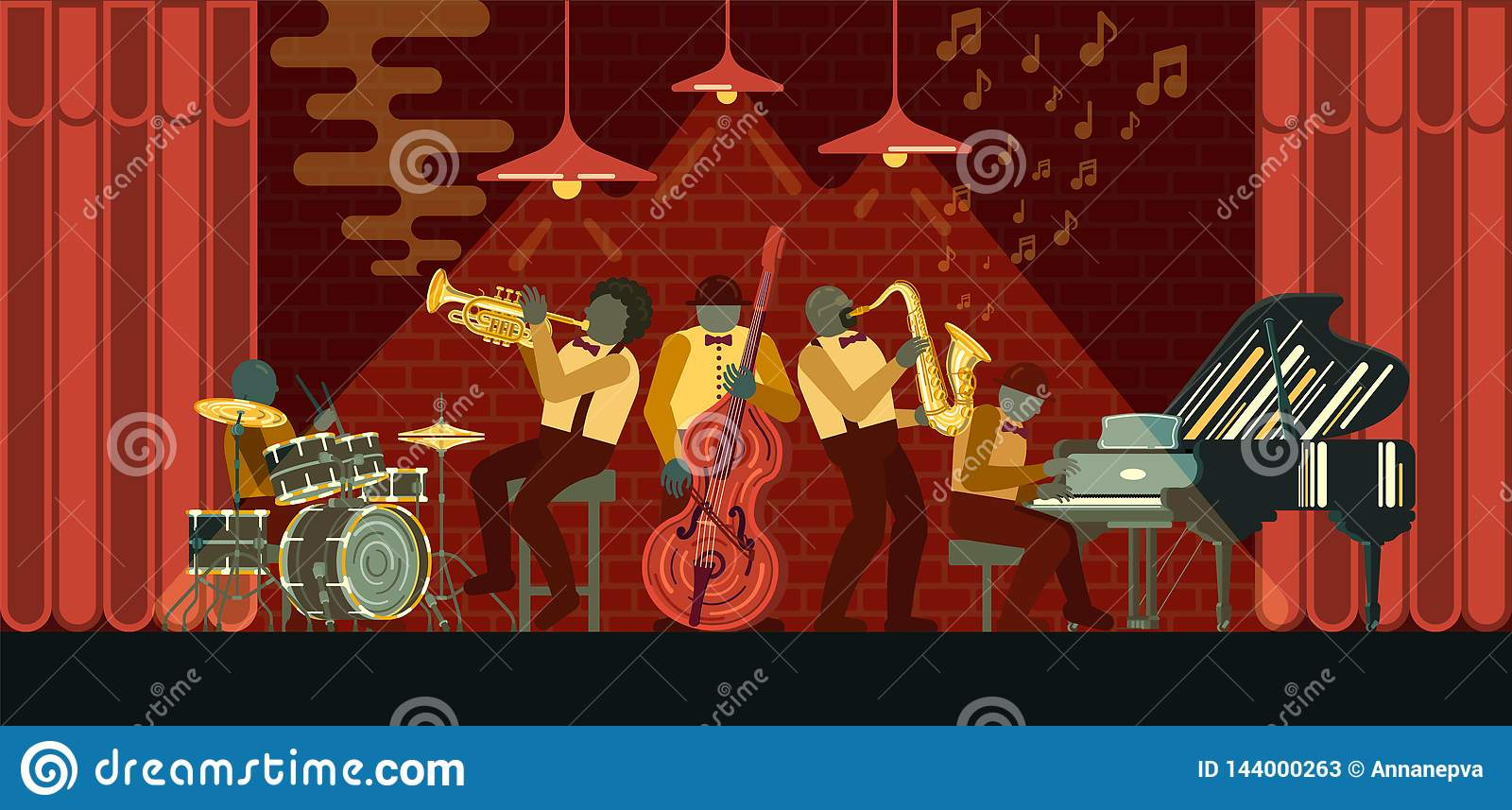 Jazz Band playing on musicail instruments piano, saxophone, double-bass, cornet and drums in Jazz Bar