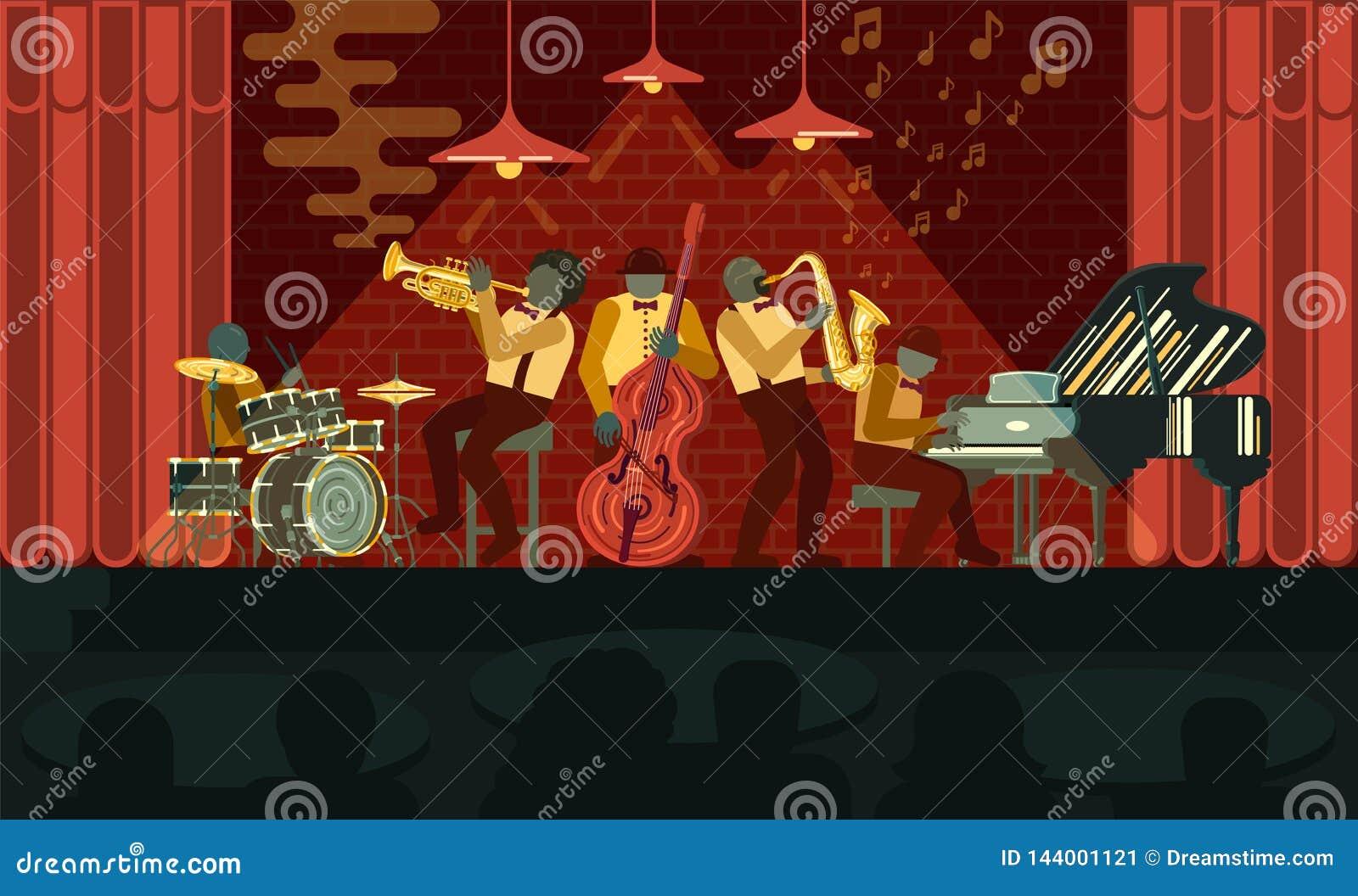 Jazz Band que juega en piano, el saxof?n, el doble-bajo, el cucurucho y los tambores de los instrumentos del musicail en Jazz Bar