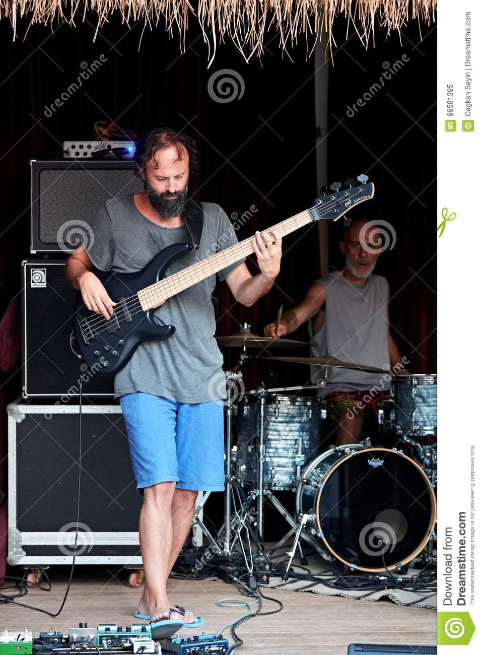 Jazz Bass Player And Drummer On Stage Editorial Image - Image of ... 04afc2d556f4