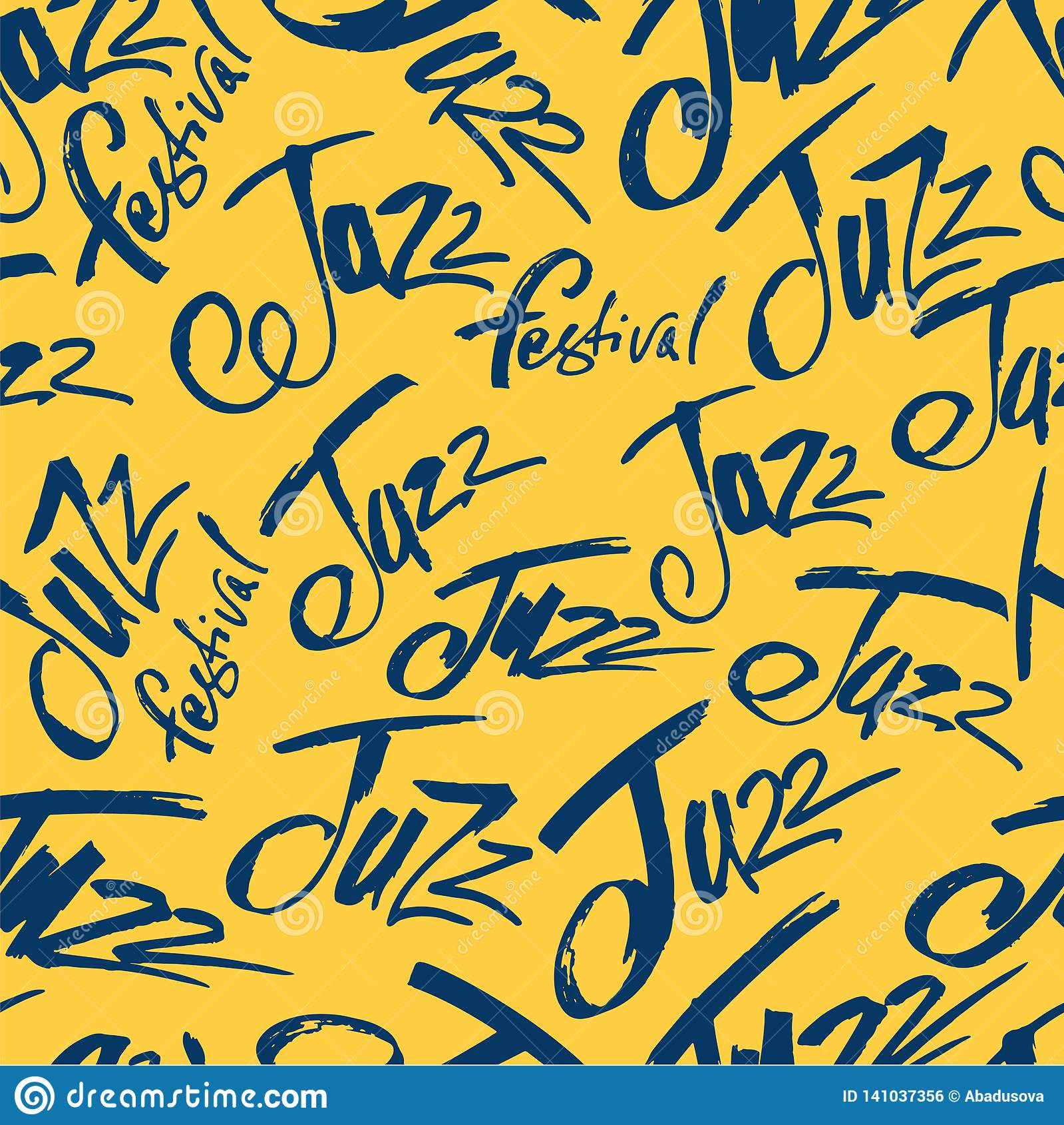 Jazz Borsta pennan som märker den sömlösa modellen Vektorfärgpulverinskrift Modern stil för kalligrafi music poster Göra perfekt