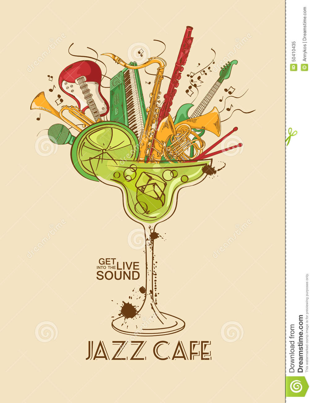 Jazz Cafe Concept With Musical Instruments In A Cocktail ...