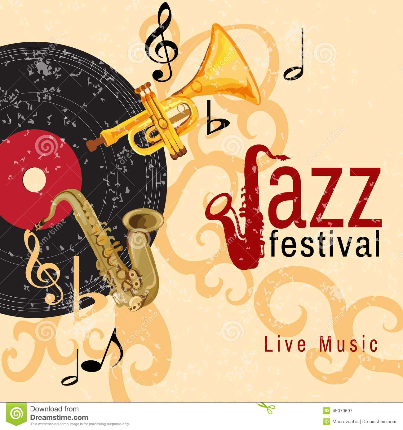 Arts Live Song Room: Jazz Concert Poster Stock Vector. Illustration Of Note