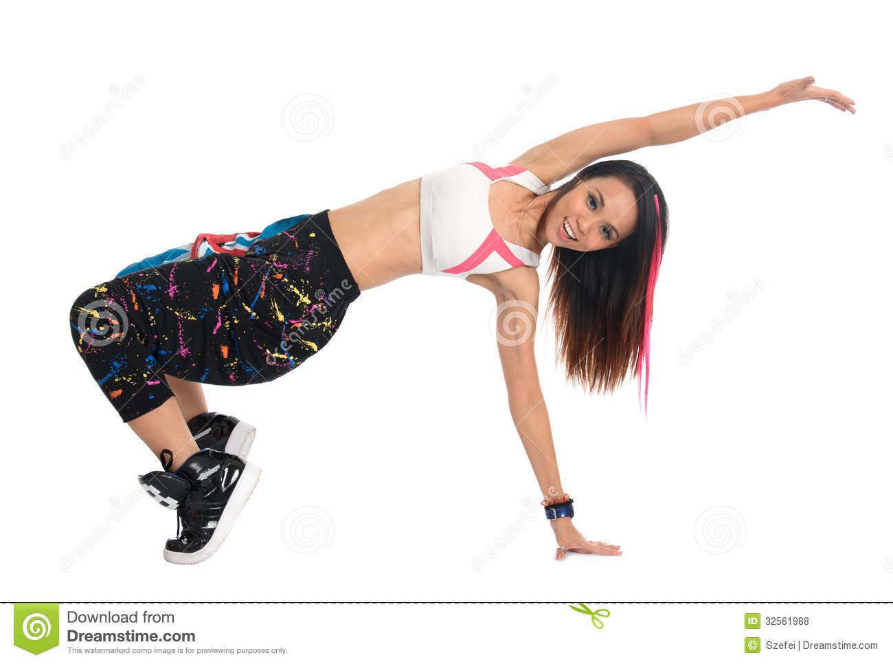 Full body cool looking girl dances jazz modern dance isolated on white ...