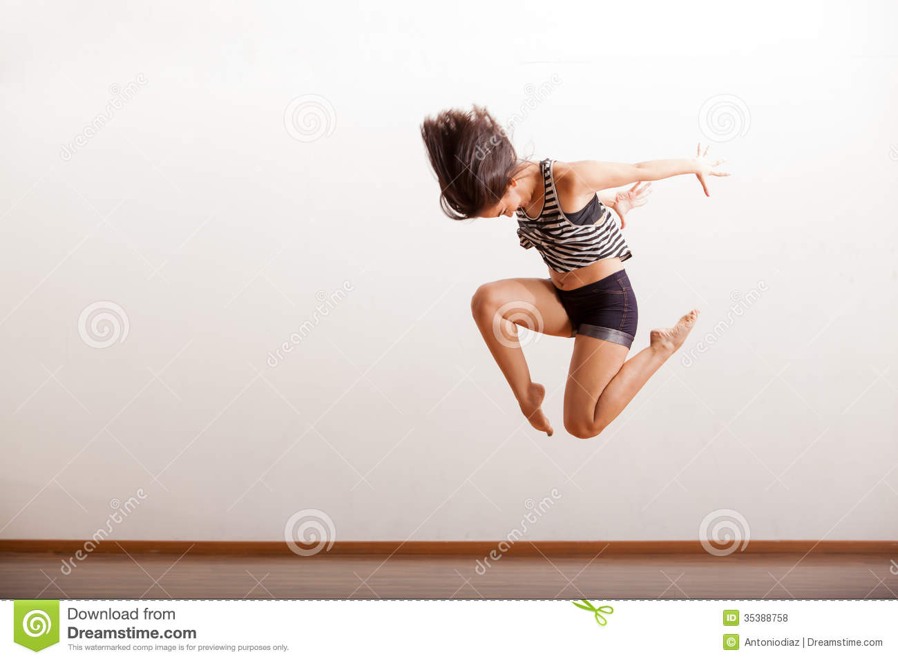 Jazz Dancer Performing Jump Stock Image Focused Rehearsal
