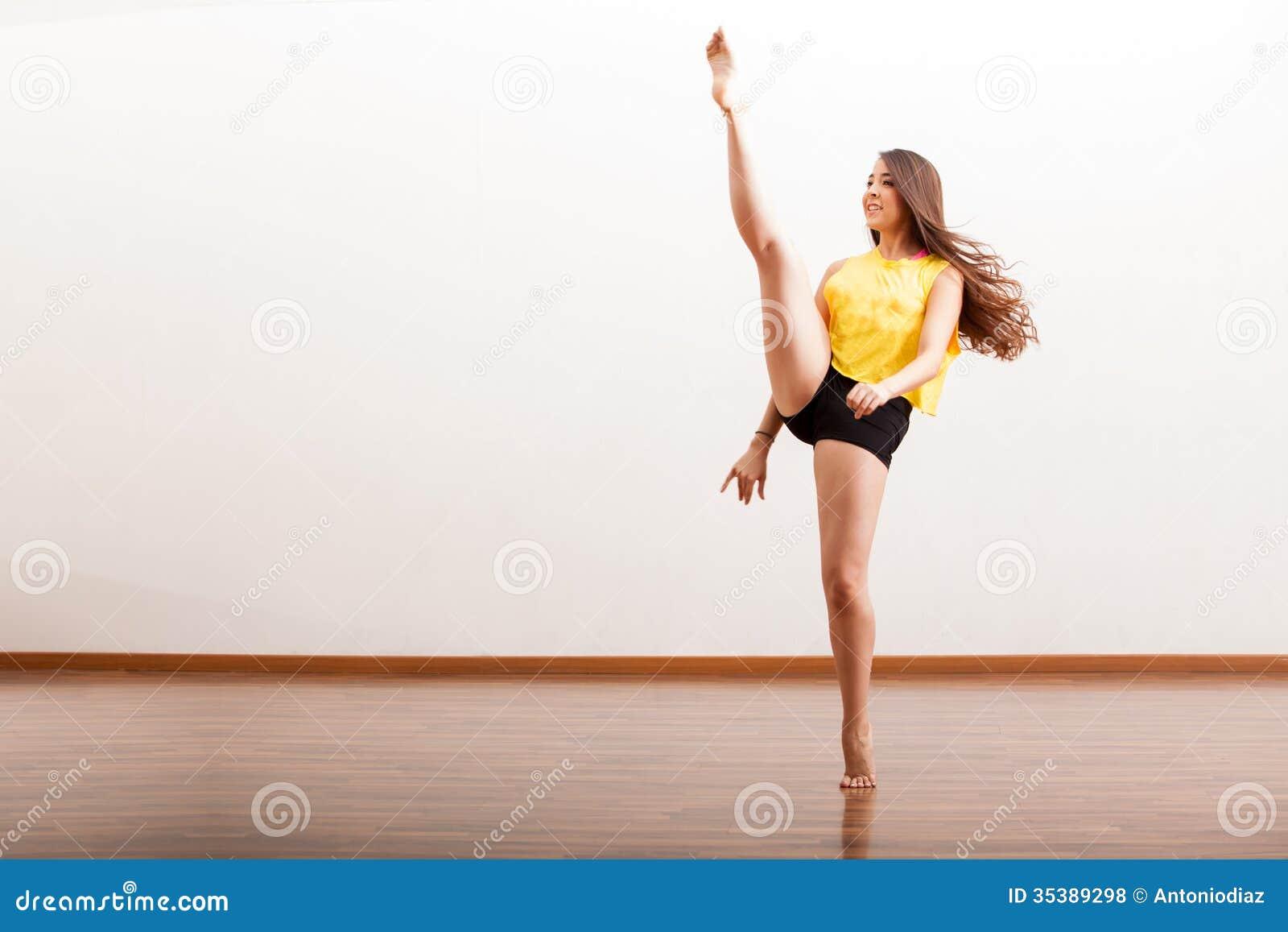 Royalty Free Stock Photos Jazz Dancer Performing Routine Beautiful Young Raising Her Leg Dance Performance Dance Academy Image35389298 on Dance Studio Floor Plans