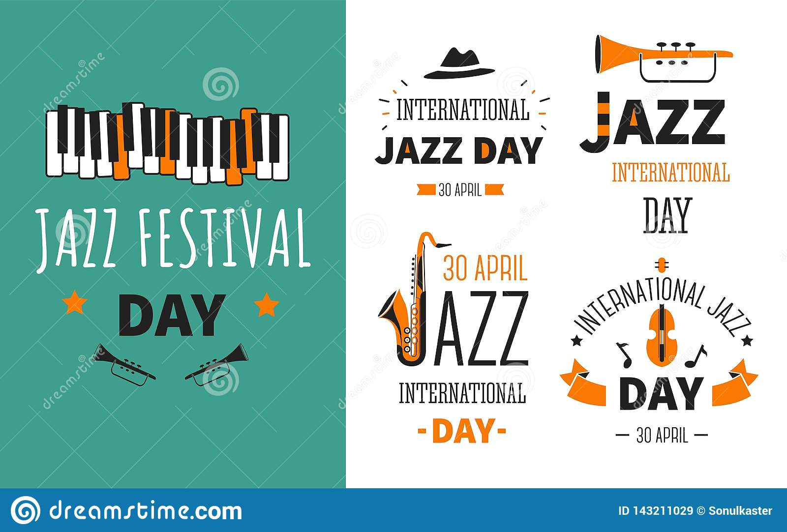 Jazz festival musical instruments music genre poster and emblems