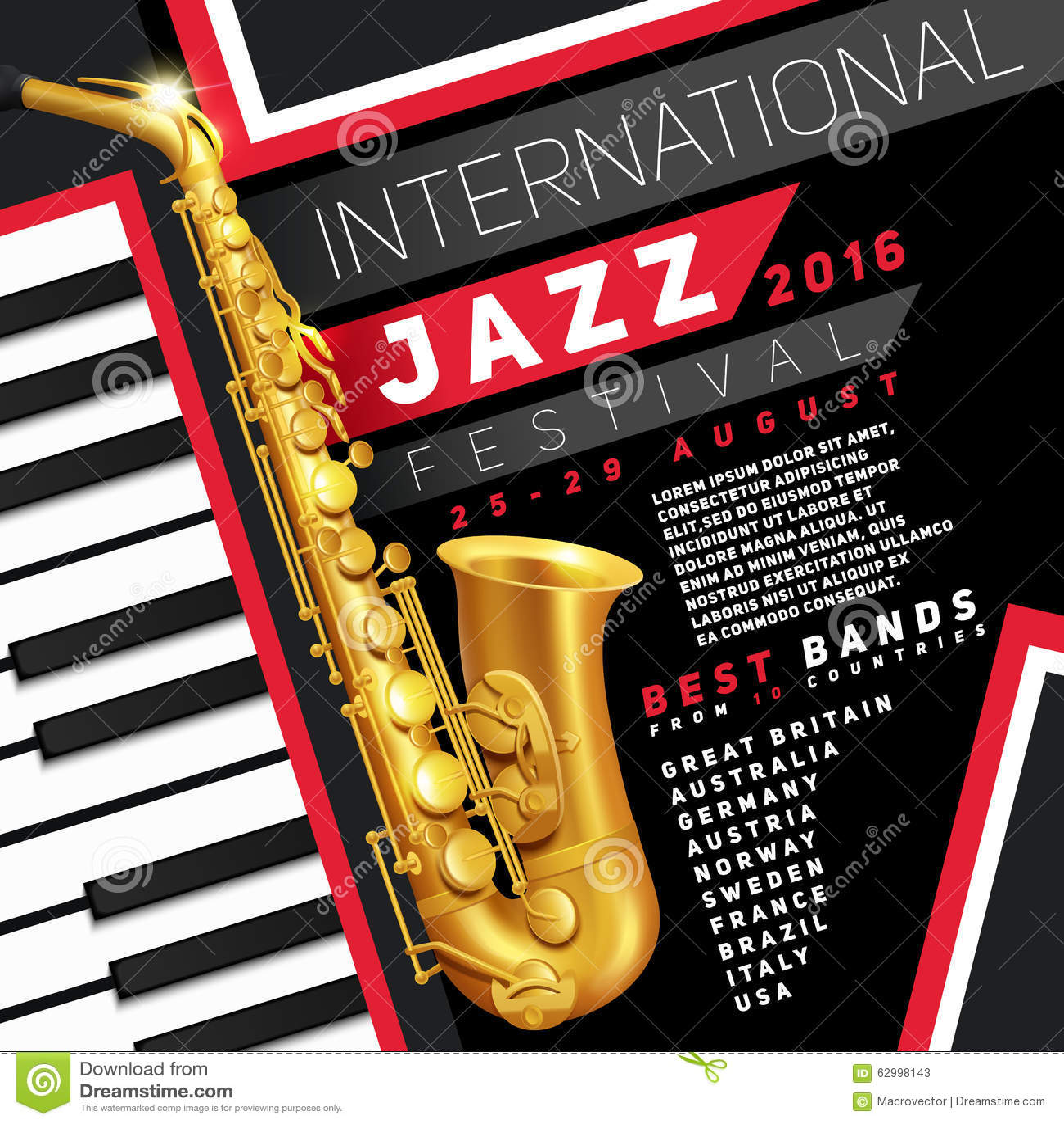 jazz festival poster stock illustration  image of decorative