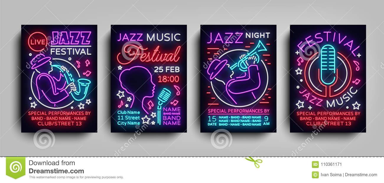 Jazz Festival Posters Neon Collection Neon Sign Neon Style