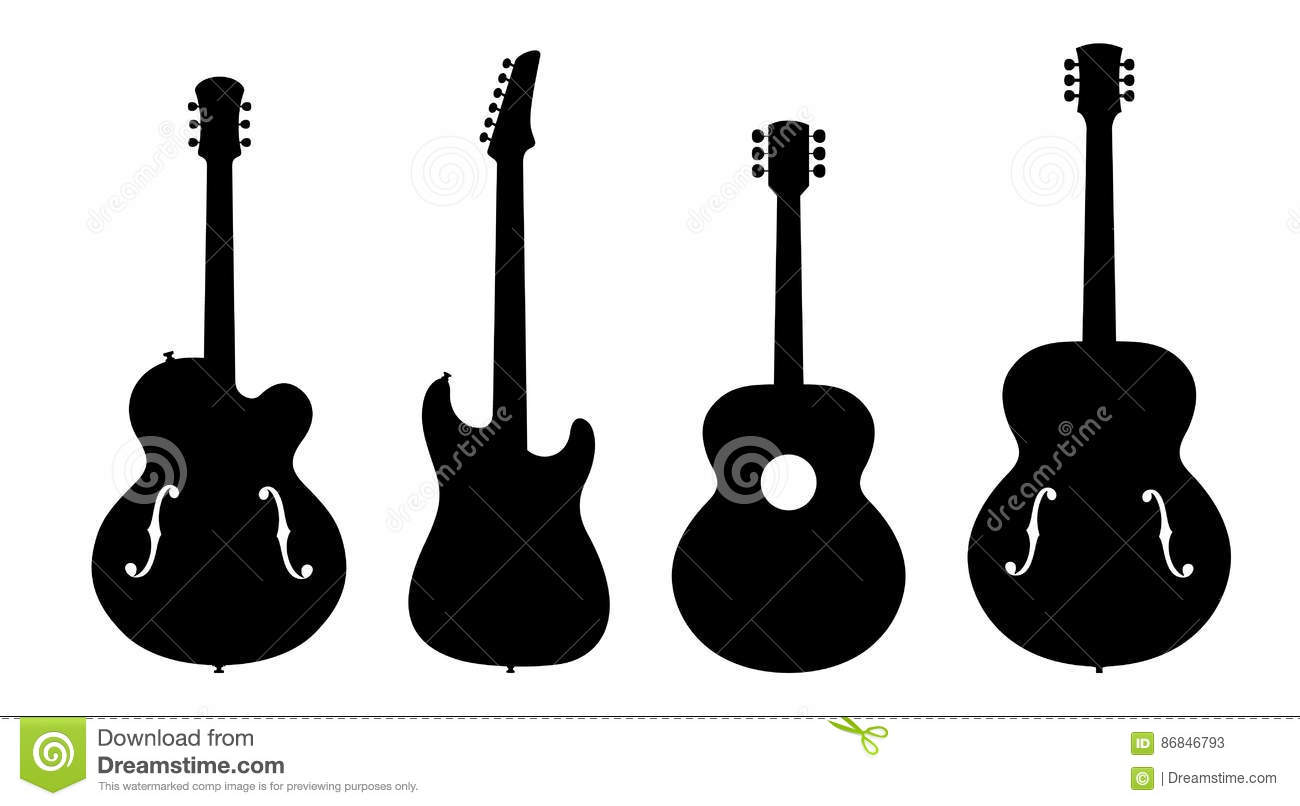 jazz guitar silhouettes stock vector illustration of. Black Bedroom Furniture Sets. Home Design Ideas
