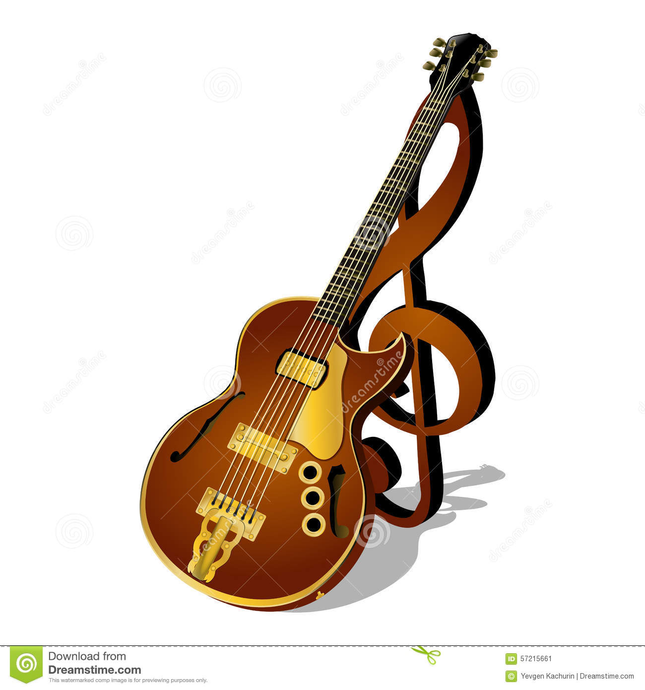 Jazz Guitar With A Treble Clef And Shadow Stock Vector - Image ...