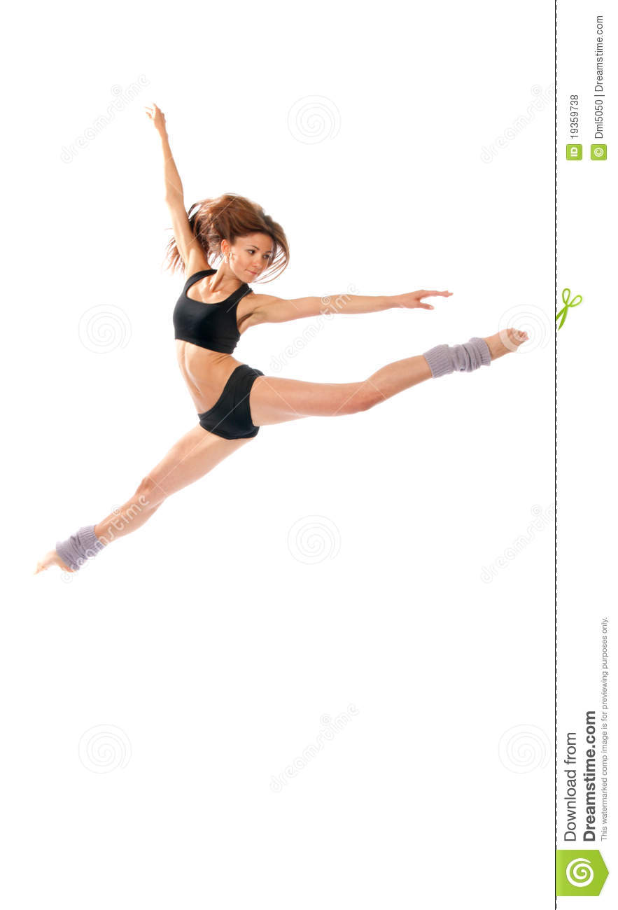 Jazz Modern Style Woman Ballet Dancer Jumping Stock Photo ...