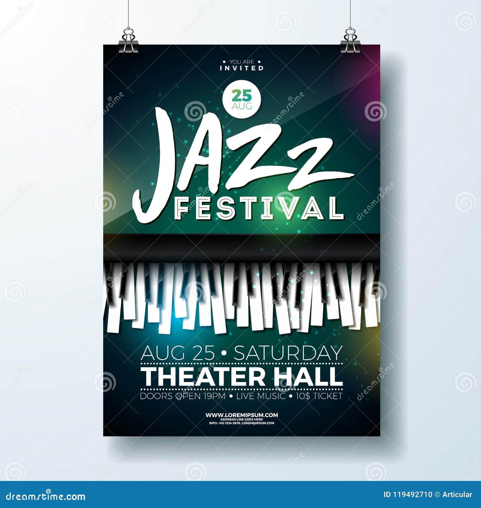 Jazz Music Festival Flyer Design con el teclado de piano en fondo oscuro Plantilla del ejemplo del partido del vector para
