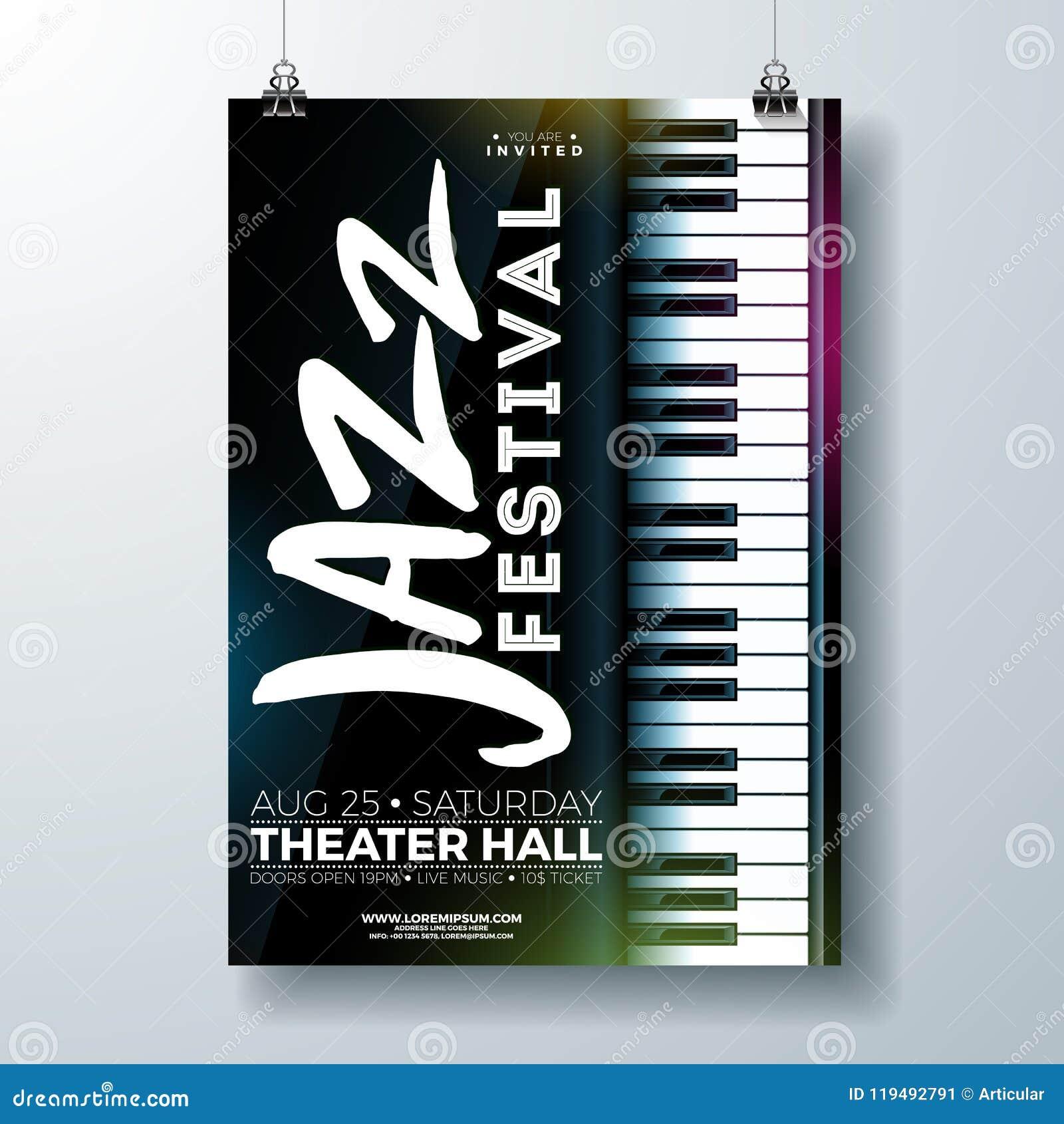 Jazz Music Festival Flyer Design Con El Teclado De Piano En Fondo ...