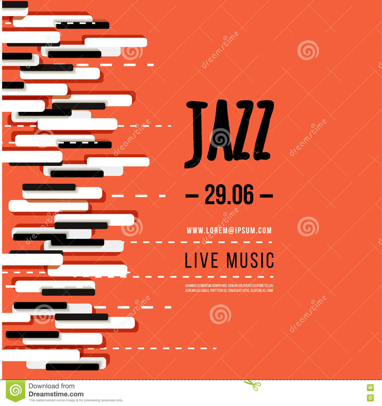 jazz music festival  poster background template  keyboard