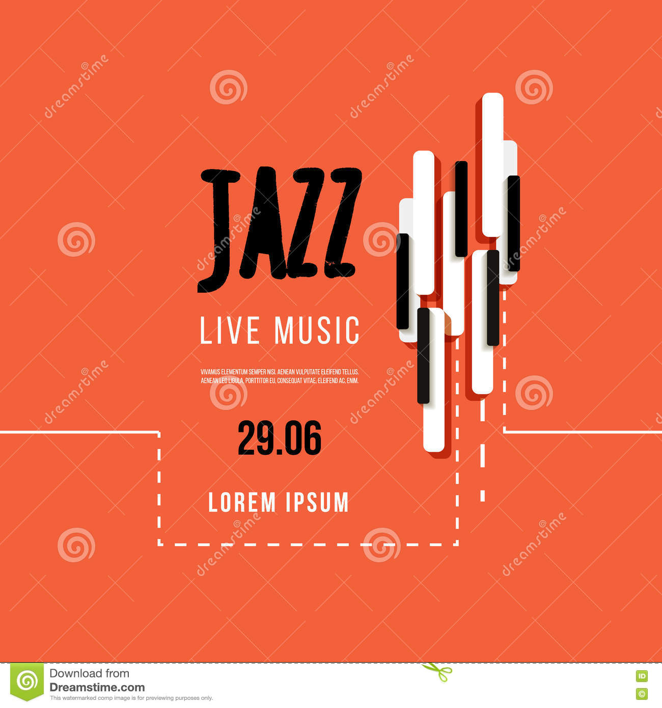 Jazz Music Festival Poster Background Template Keyboard With Music