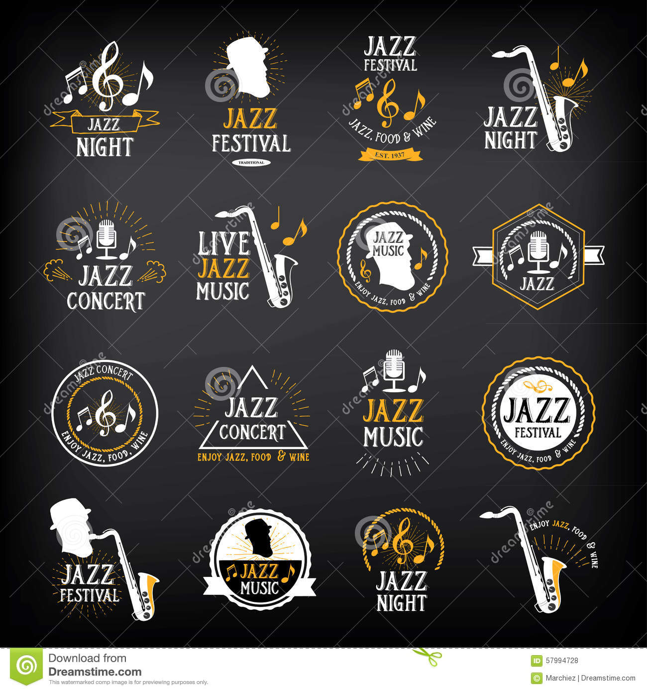 jazz music party logo and badge design vector with