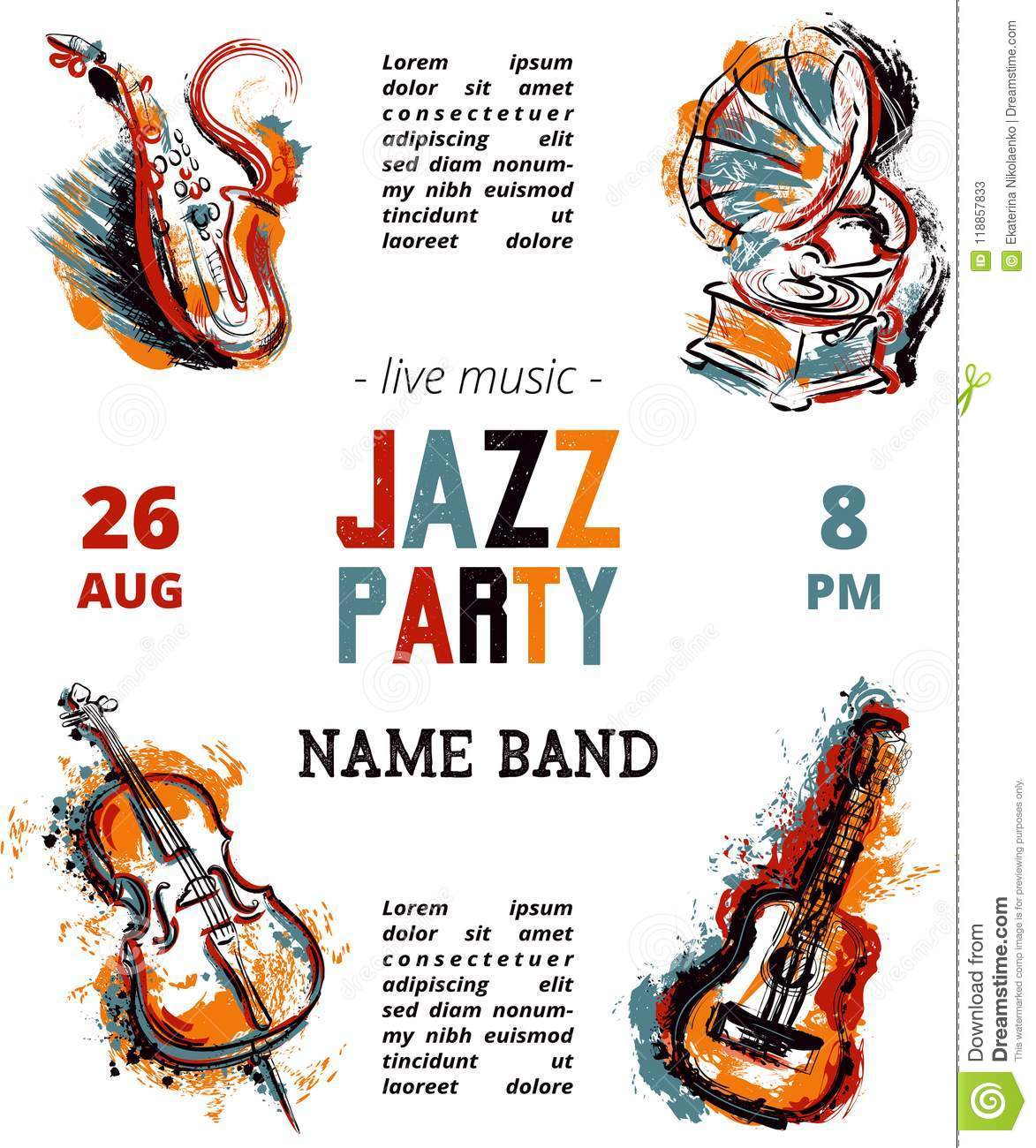 Jazz Music Party Poster With Musical Instruments Saxophone Guitar