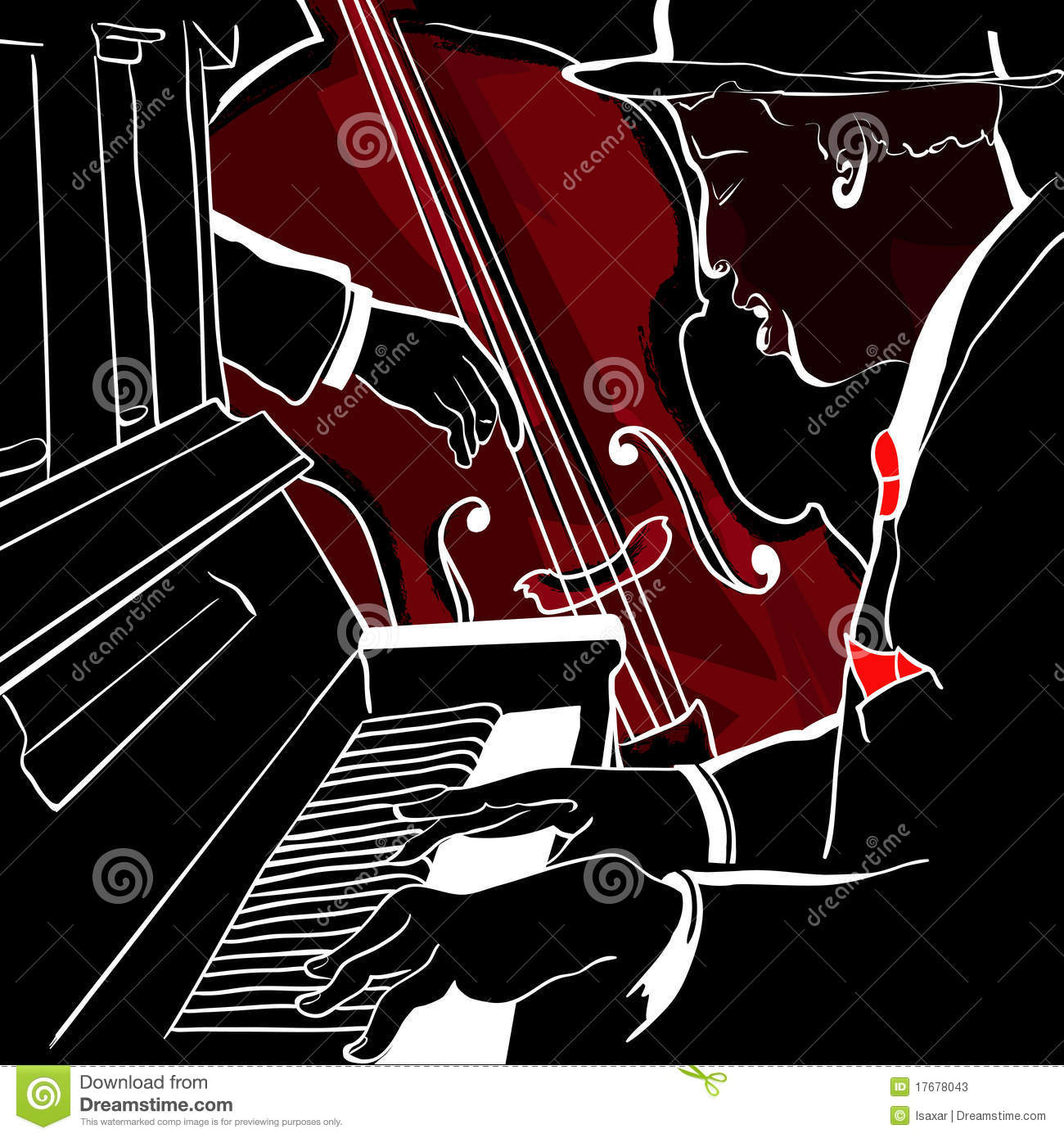 Jazz Piano And Double Bass Stock Vector Illustration Of
