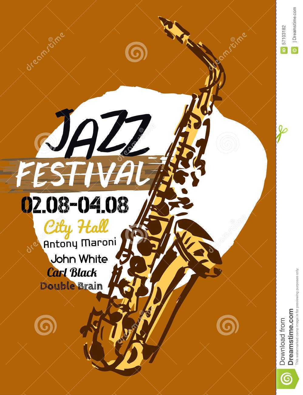 Vector illustration of Jazz poster background template with hand drawn ...