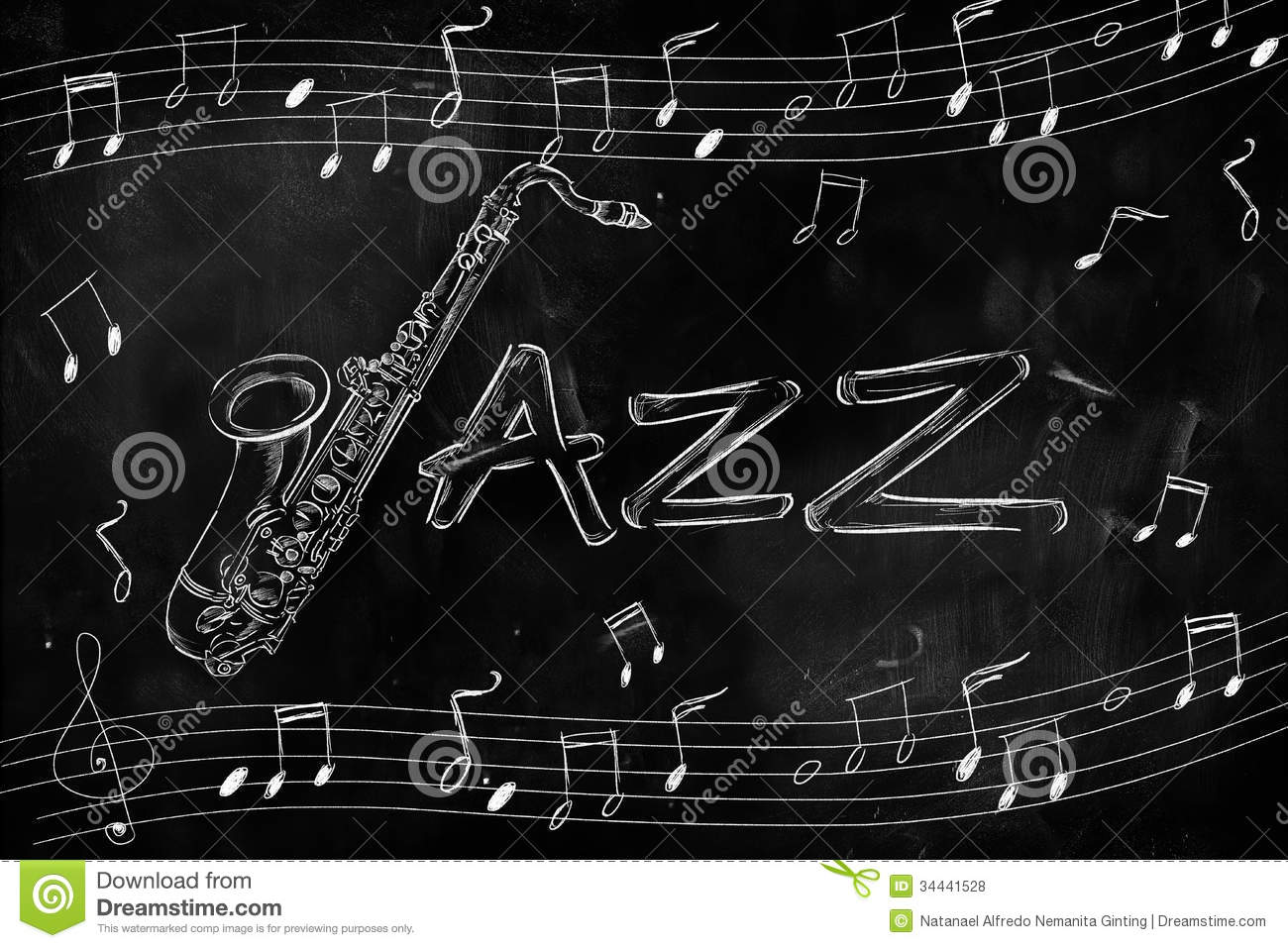 Jazz saxophone drawing on blackboard stock illustration jazz saxophone drawing on blackboard voltagebd Image collections