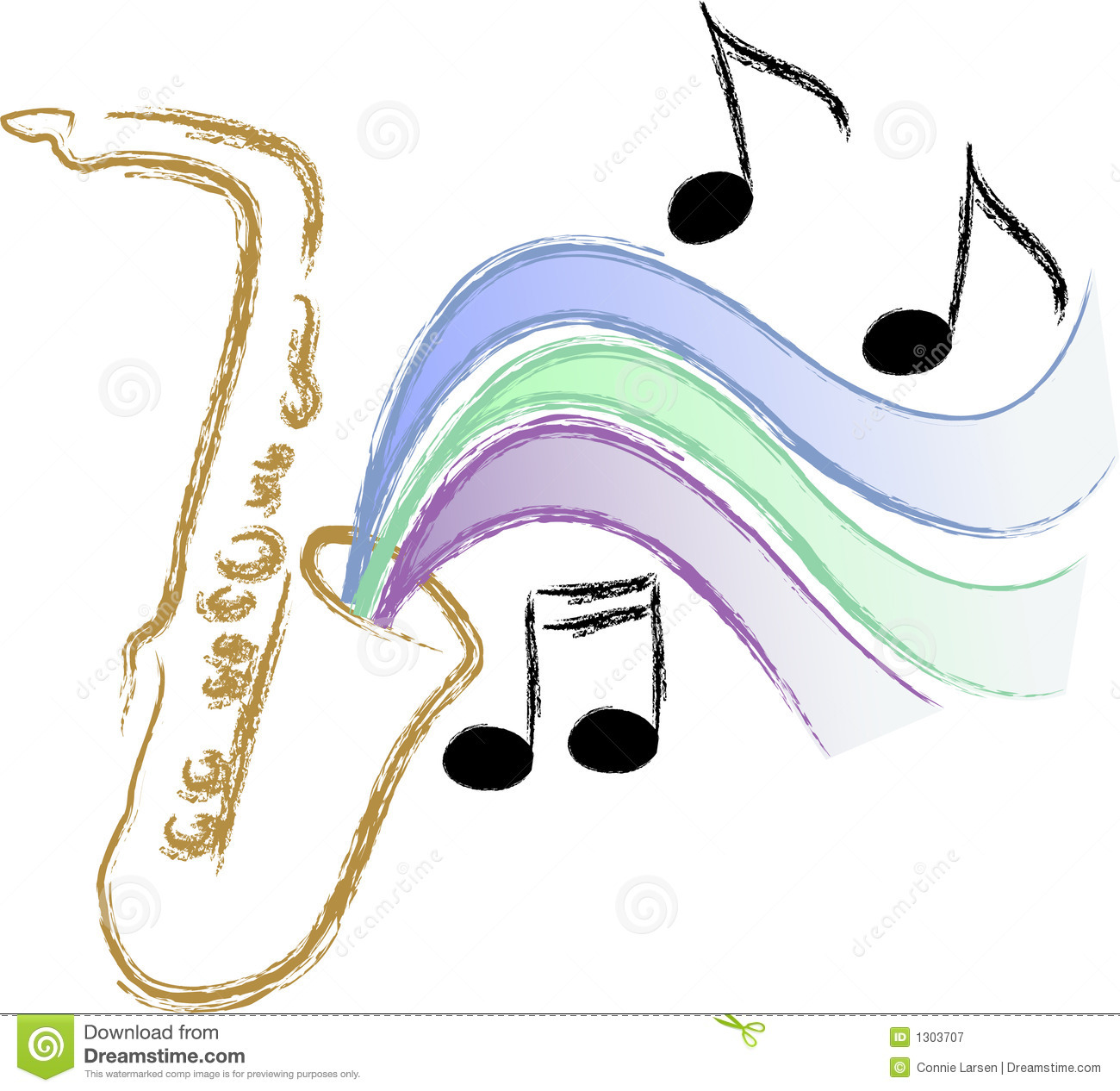 Illustration of a saxophone with stylized music symbolizing jazz ...