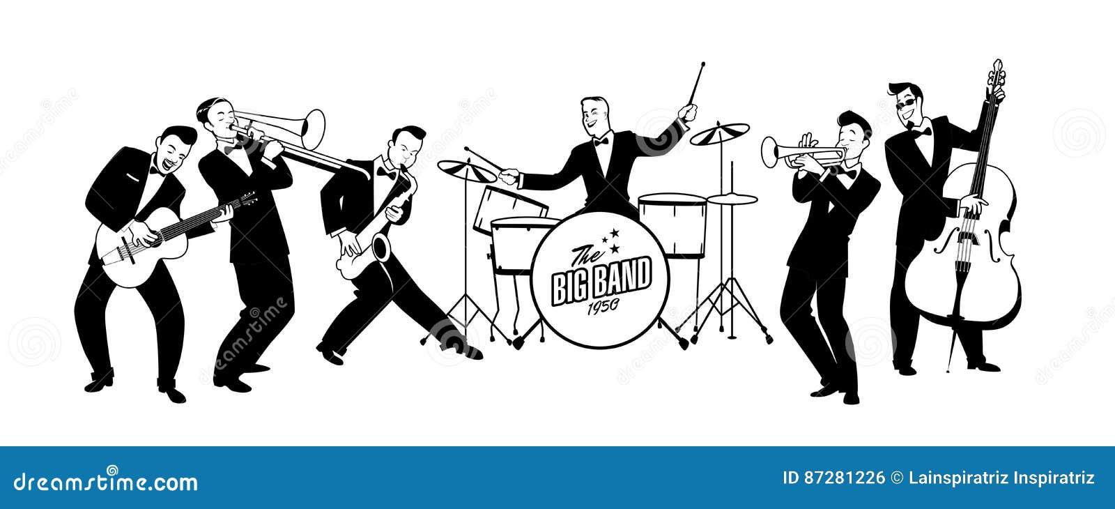 jazz swing orchestra  retro style  cartoon illustration