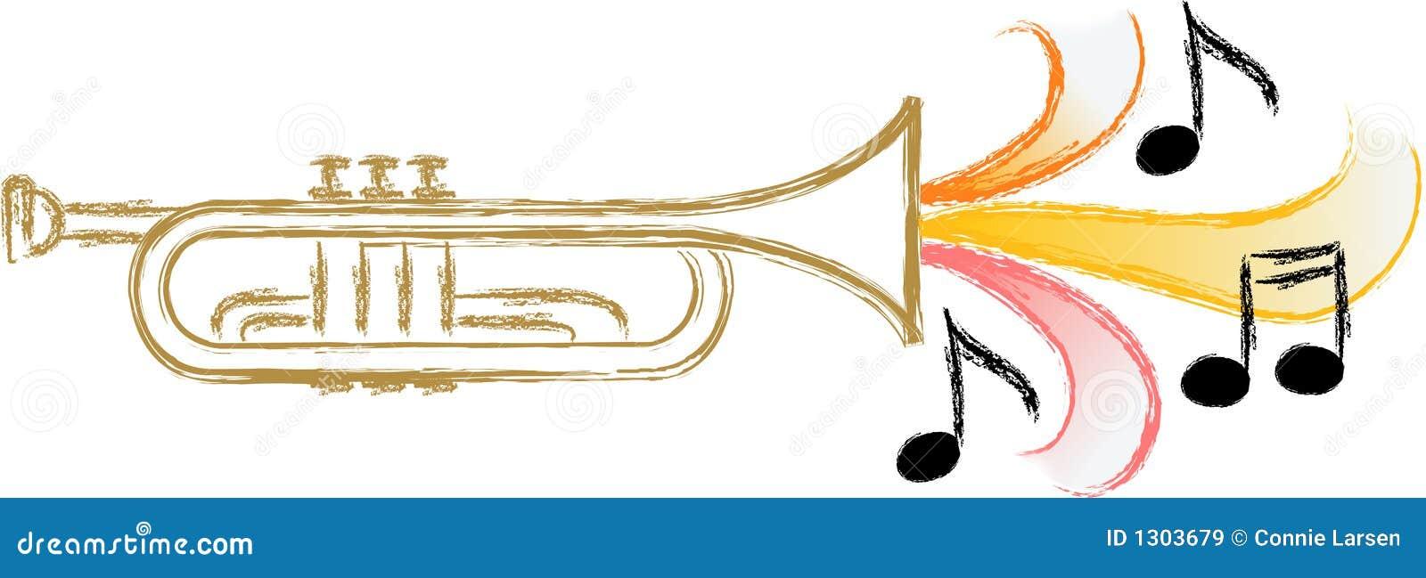 Illustration of a trumpet with stylized music symbolizing jazz, blues ...