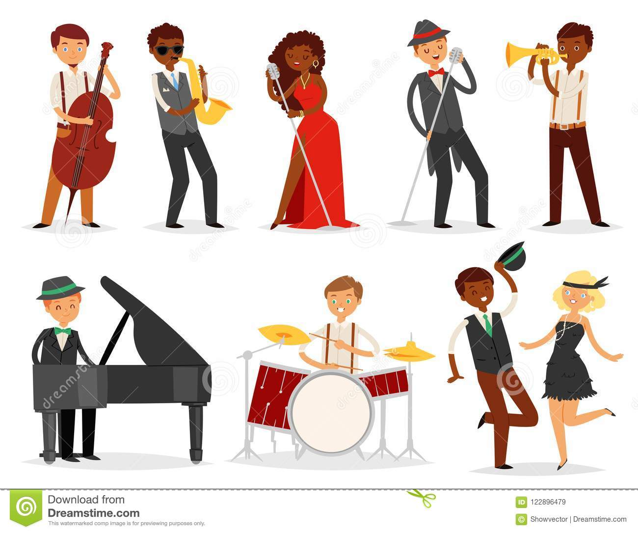 Jazz vector musician character playing on musical instruments saxophone drums and piano illustration music set of singer