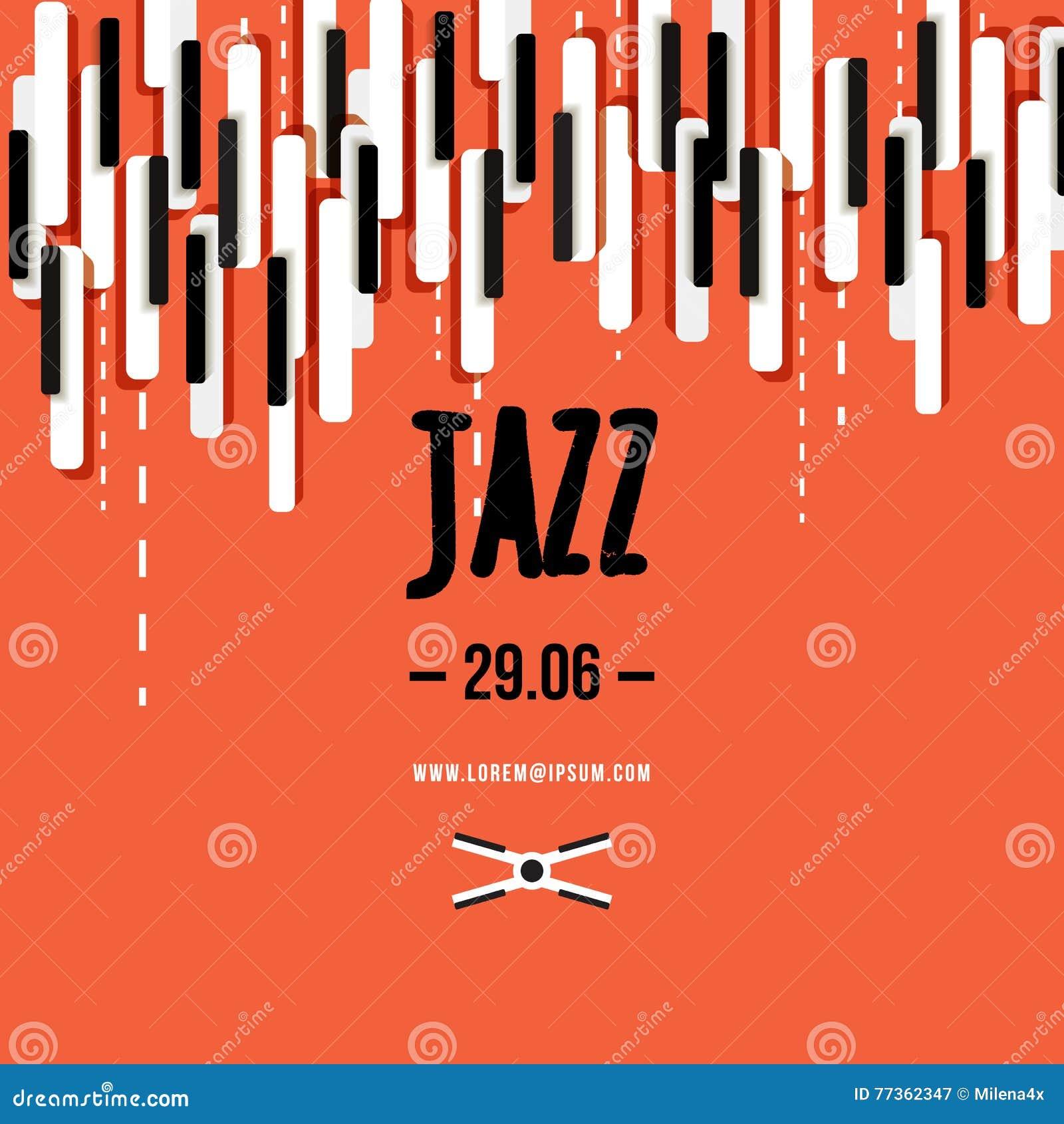 Jazzowy festiwal muzyki, plakatowy tło szablon Klawiatura z muzycznymi kluczami Ulotka Wektorowy projekt