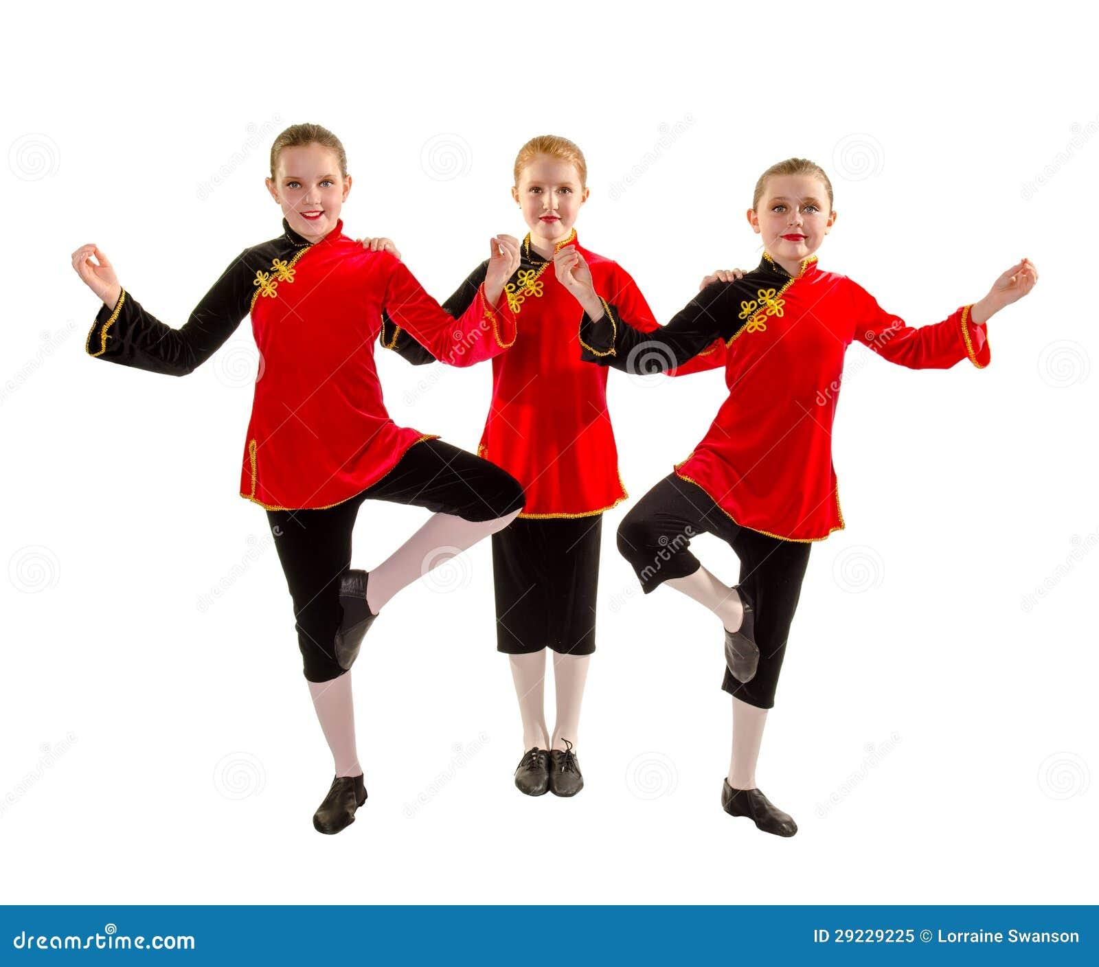Jazzowy tancerza tercet w azjata Inspirowanym kostiumu