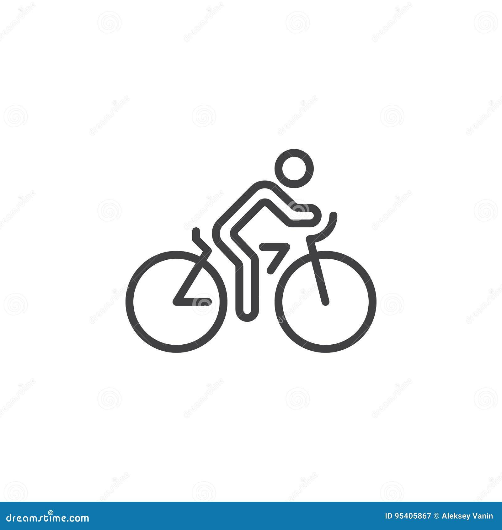 Jeździć na rowerze kreskową ikonę, rowerowy konturu wektoru znak, liniowy piktogram odizolowywający na bielu