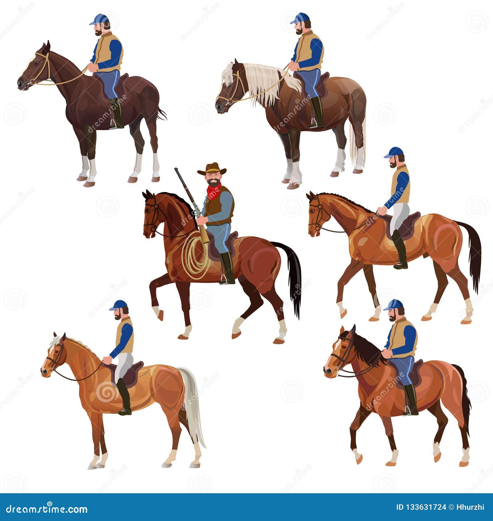 Jeźdzowie na horsebacks ustawiających