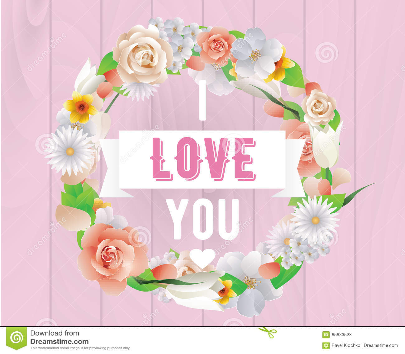 Je t aime inscription Carte de voeux, invitation ou affiche de vecteur Concevez avec des fleurs, des roses, et le texte Utilisabl