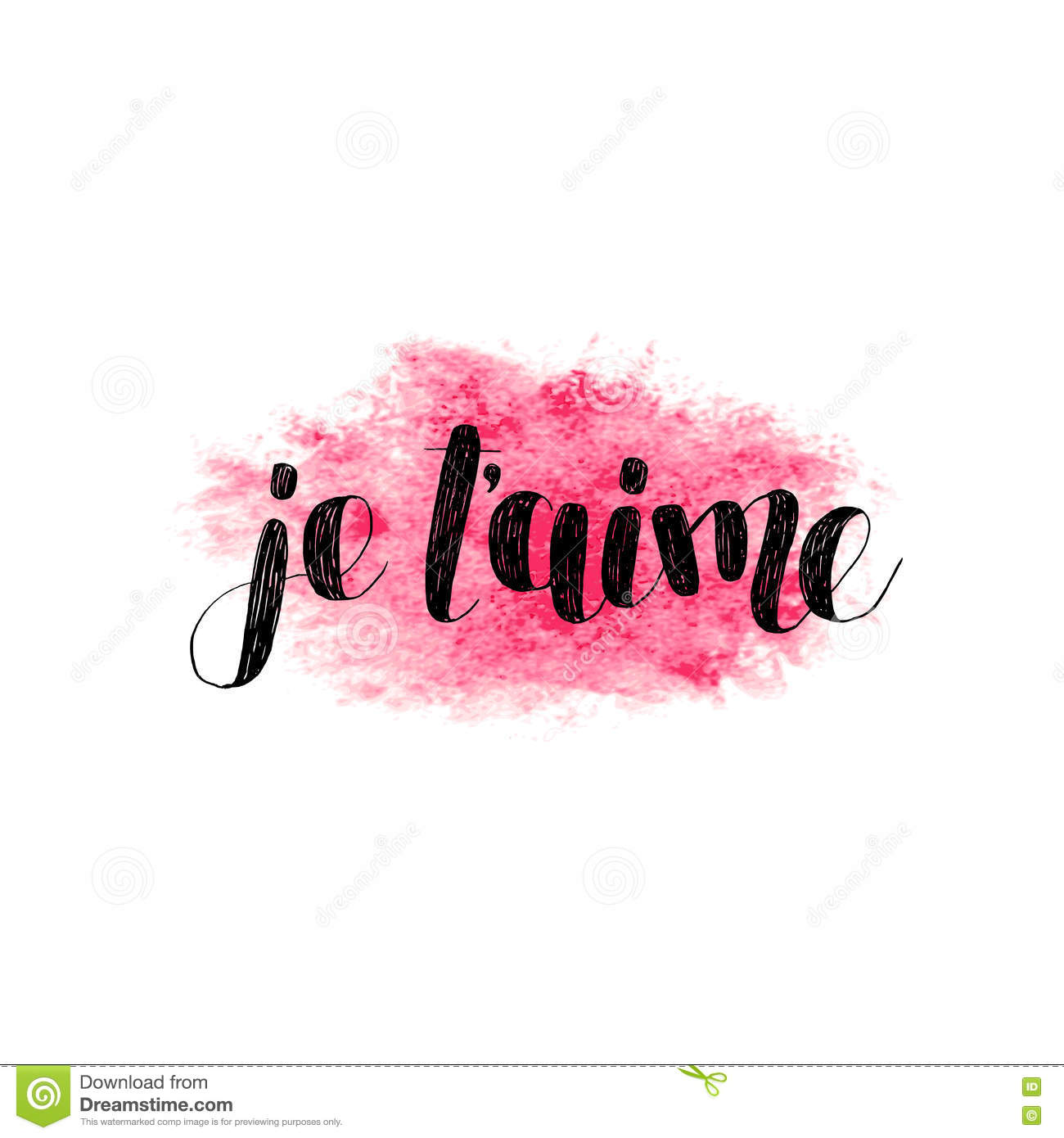 Je T Aime. Love You In French. Vector. Stock Vector